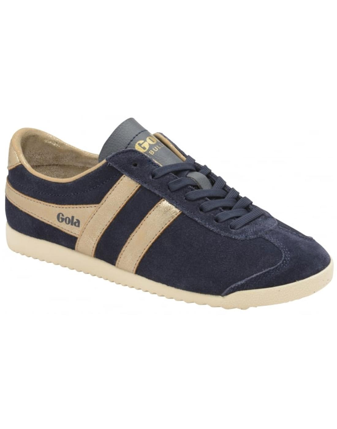 c049d90d122 GOLA Bullet Mirror Retro 70s Metallic Suede Trainers in Navy