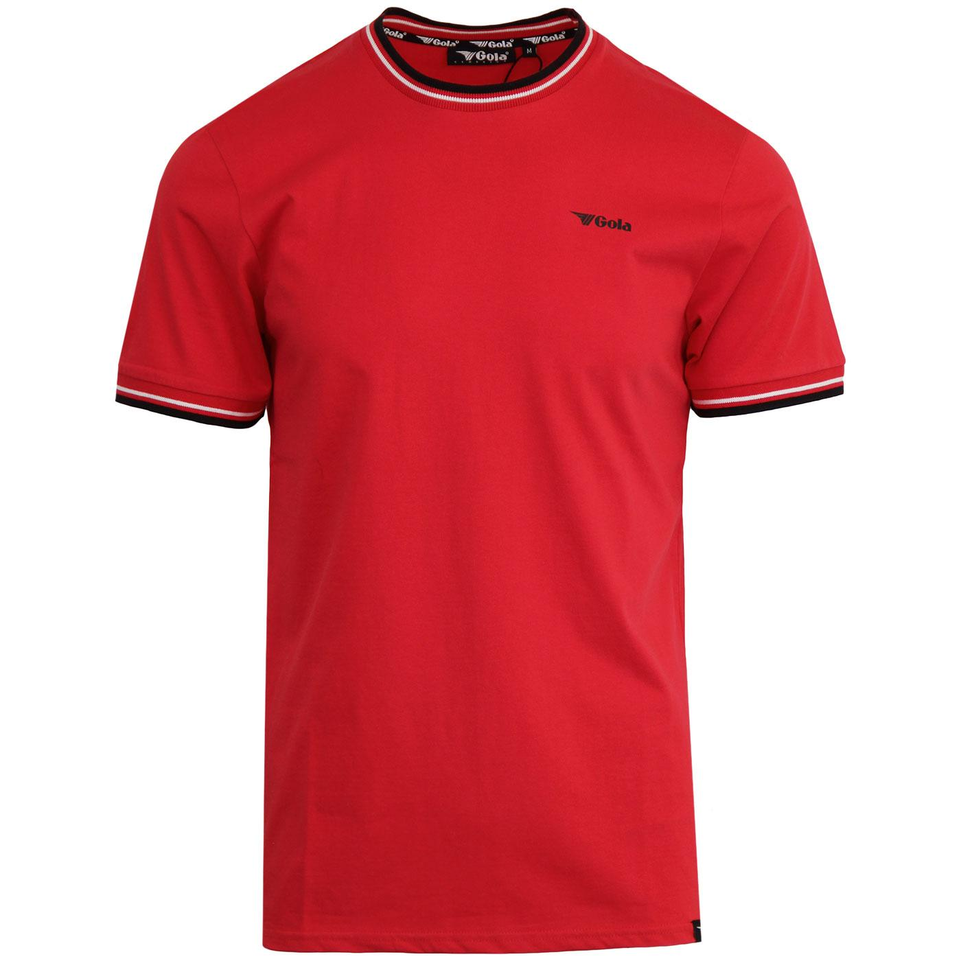 Book GOLA CLASSICS Retro Mens Tipped T-Shirt RED