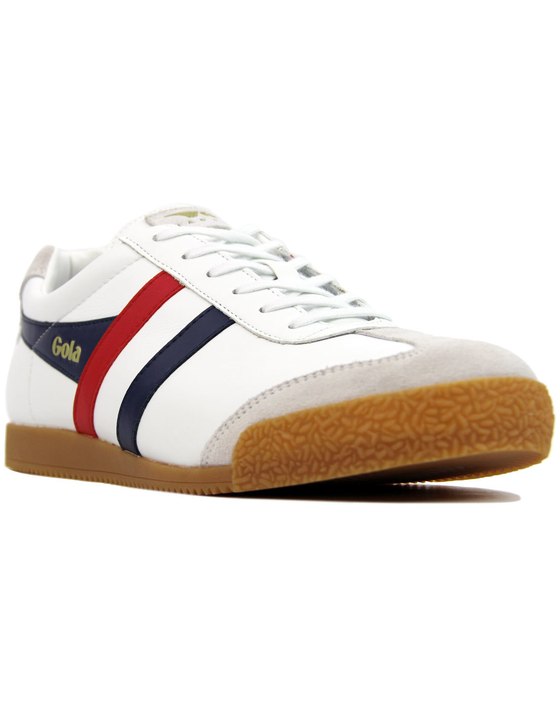 GOLA Harrier Leather Retro Mod Trainers (WHITE)