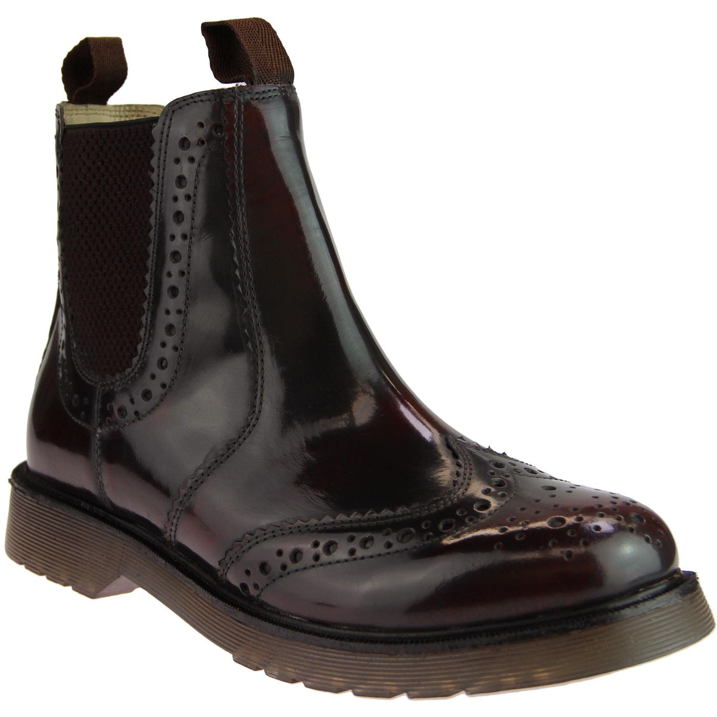 Retro Mod High Shine Brogue Chelsea Boots OXBLOOD
