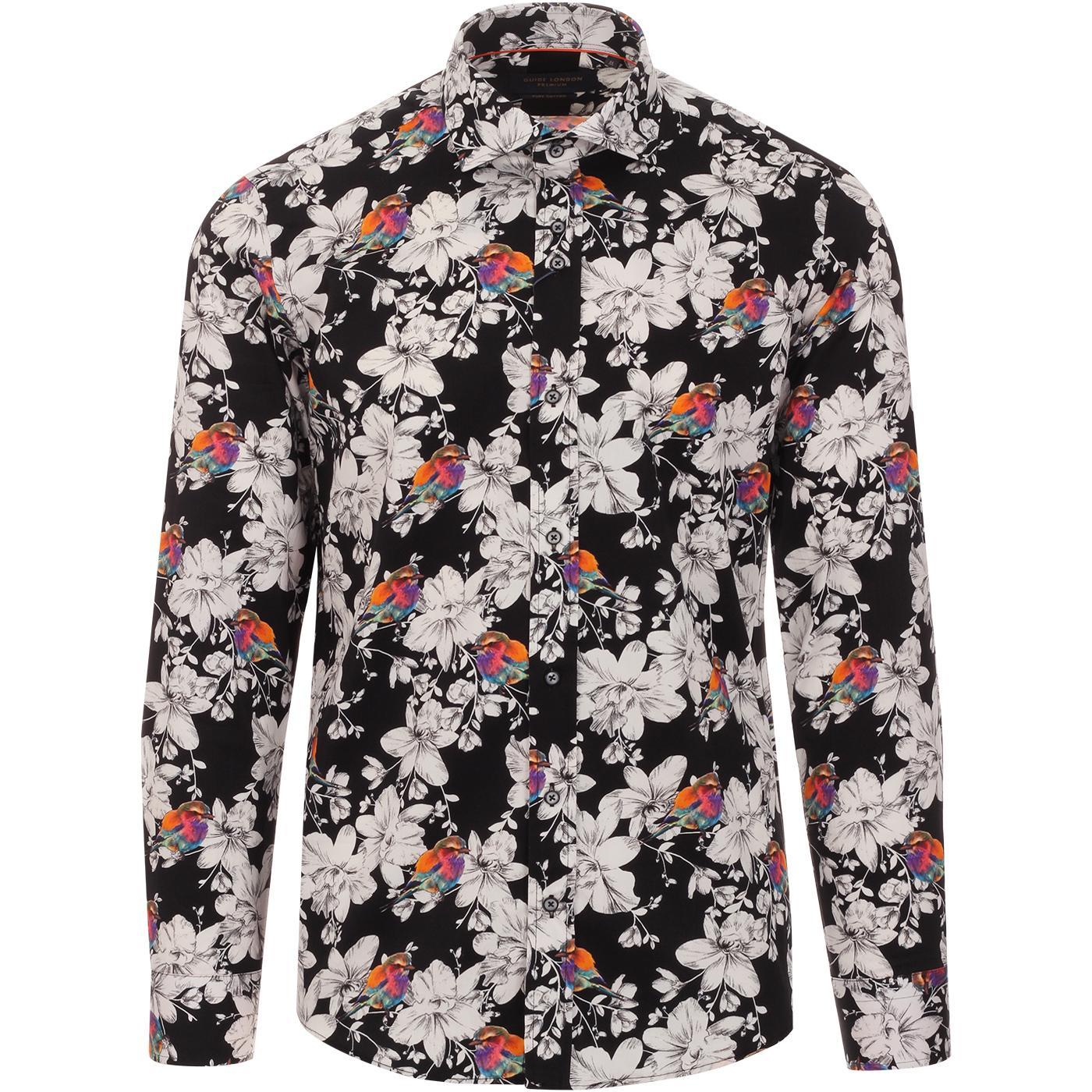 GUIDE LONDON Men's Retro 1960s Floral Bird Shirt