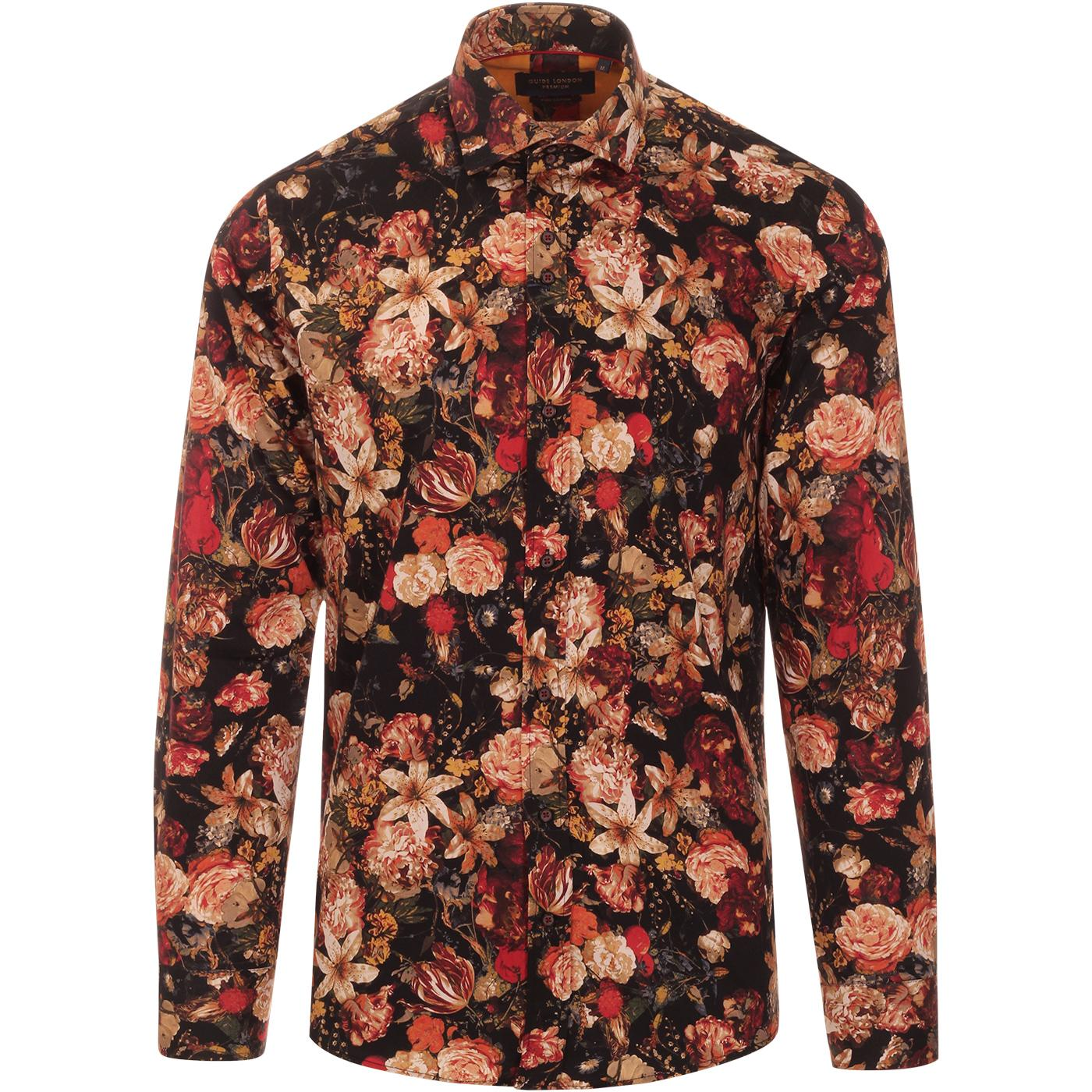 GUIDE LONDON Retro Mod Floral Painting Print Shirt