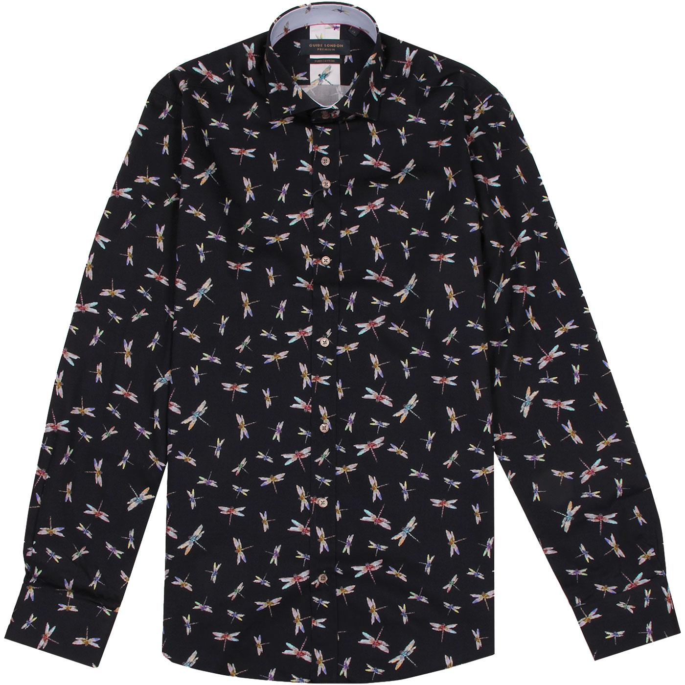 GUIDE LONDON Dragonfly Print Spread Collar Shirt