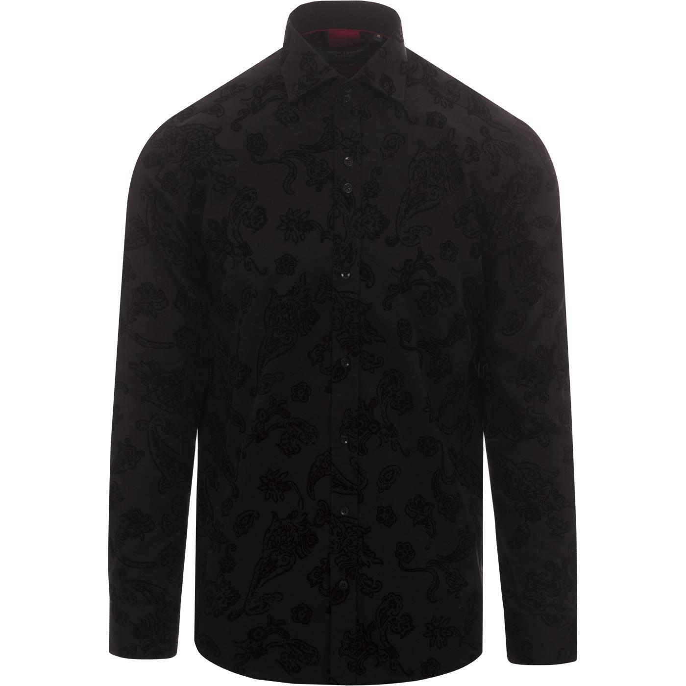 GUIDE LONDON Mod Baroque Paisley Flock Shirt (B)
