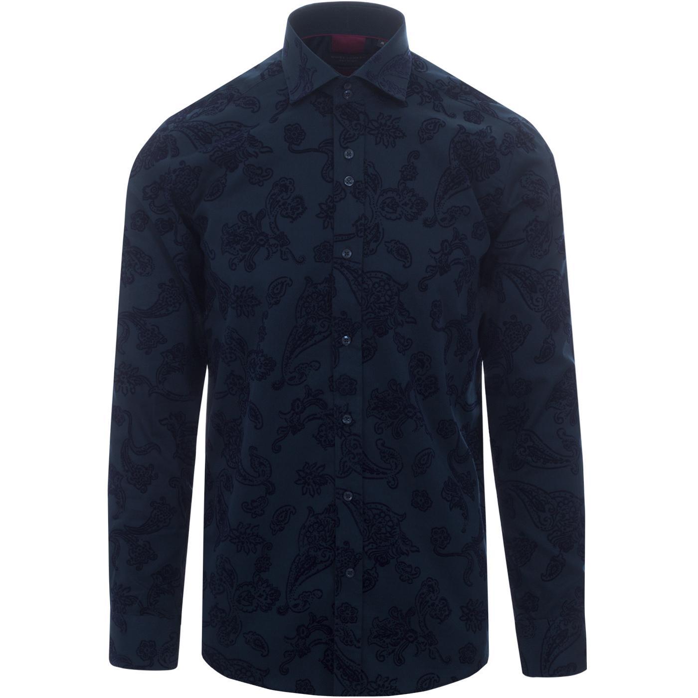 GUIDE LONDON Mod Baroque Paisley Flock Shirt (N)