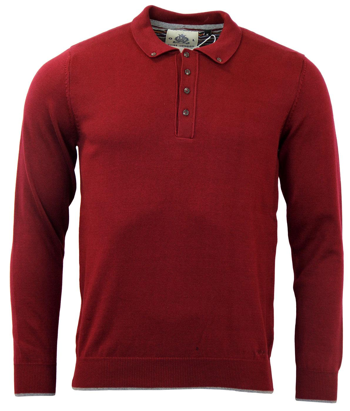 GUIDE LONDON Retro Mod Button Down Knitted Polo