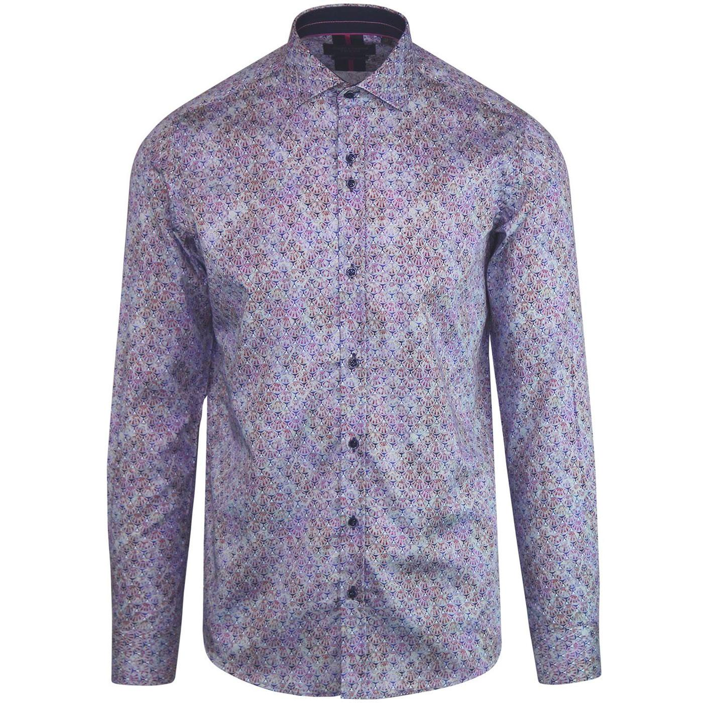 GUIDE LONDON 1960s Mod Art Deco Shell Print Shirt