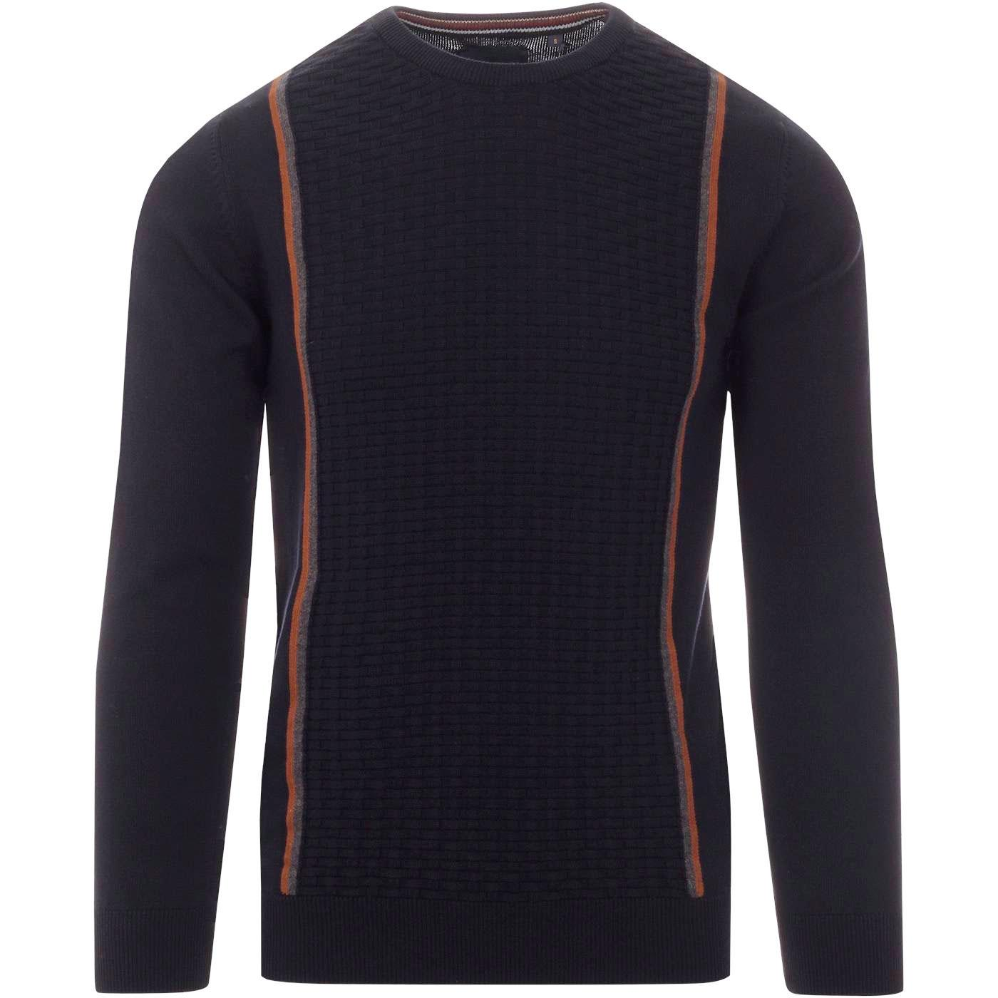 GUIDE LONDON Retro Mod Basket Weave Stripe Jumper