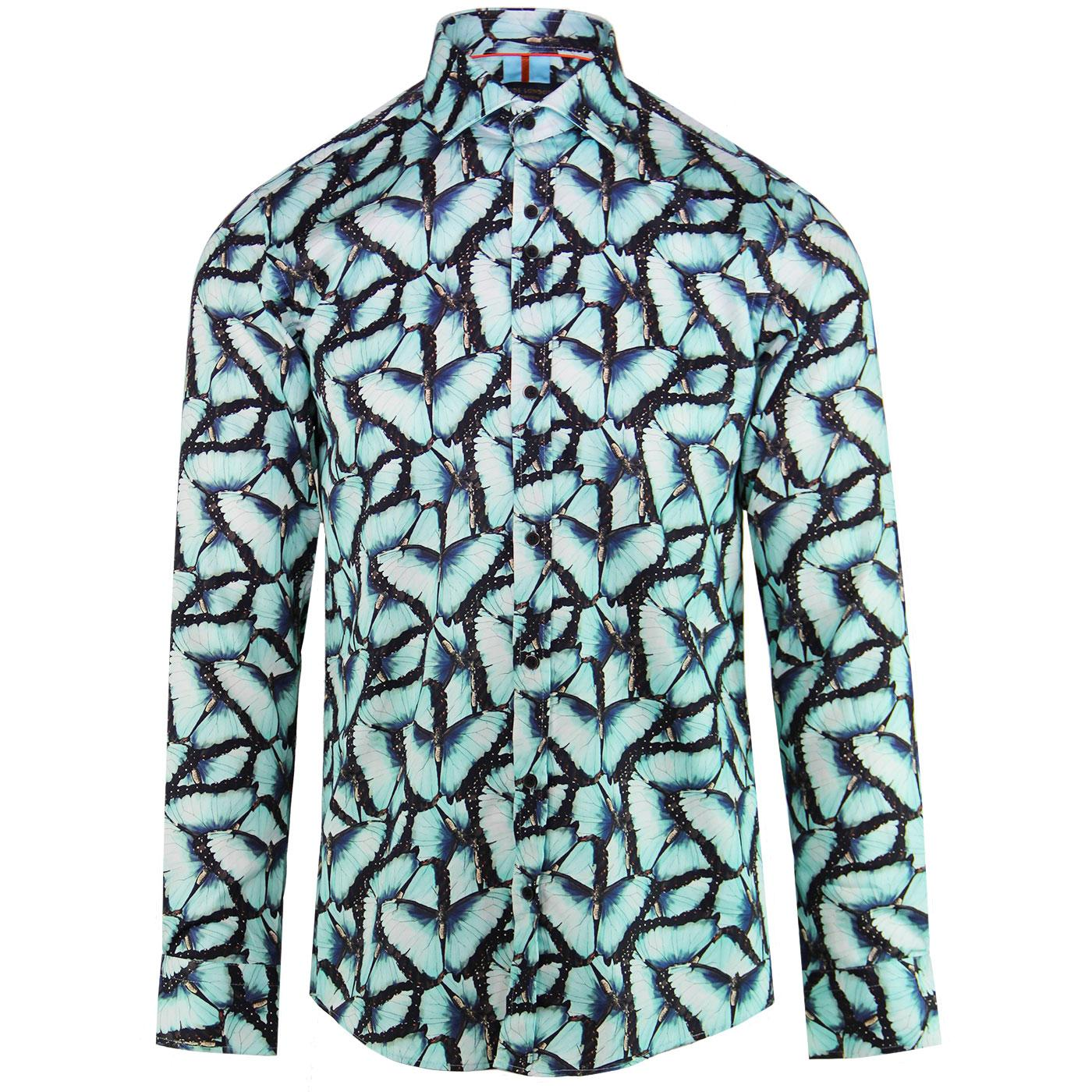 GUIDE LONDON Retro Mod Blue Morpho Butterfly Shirt
