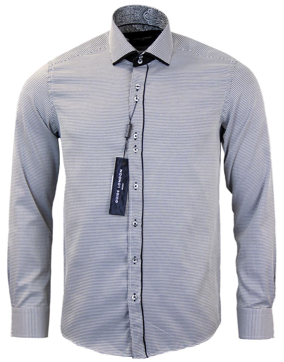 GUIDE LONDON Retro Mod Dogtooth Big Collar Shirt