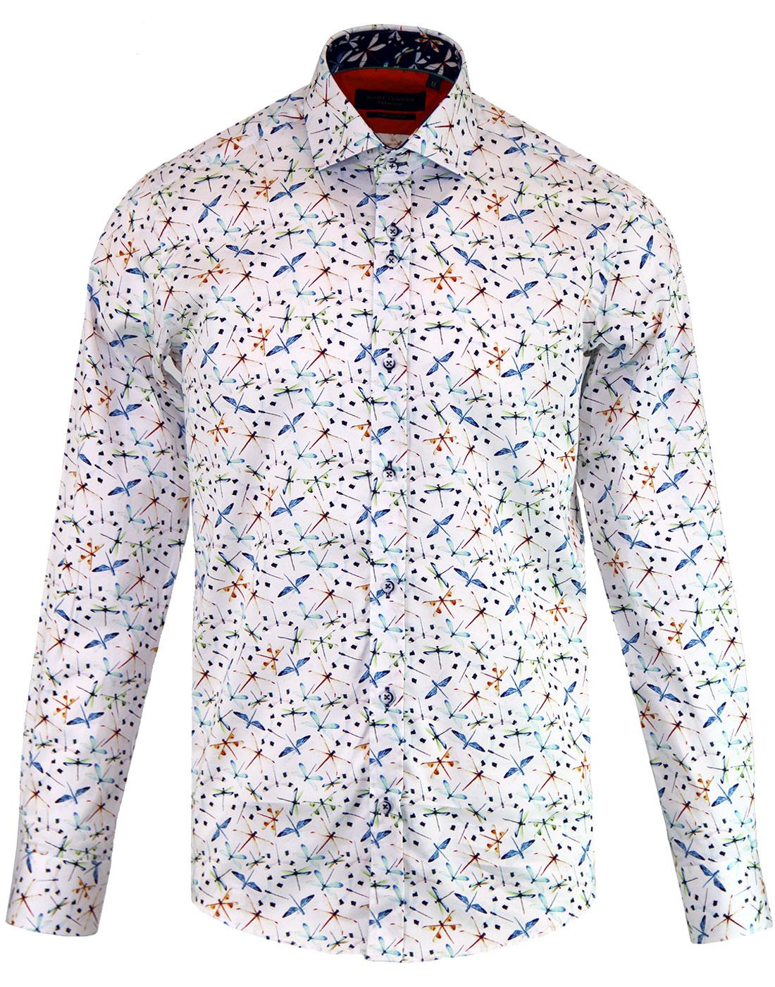 GUIDE LONDON Mens 60's Mod Dragonfly Print Shirt W