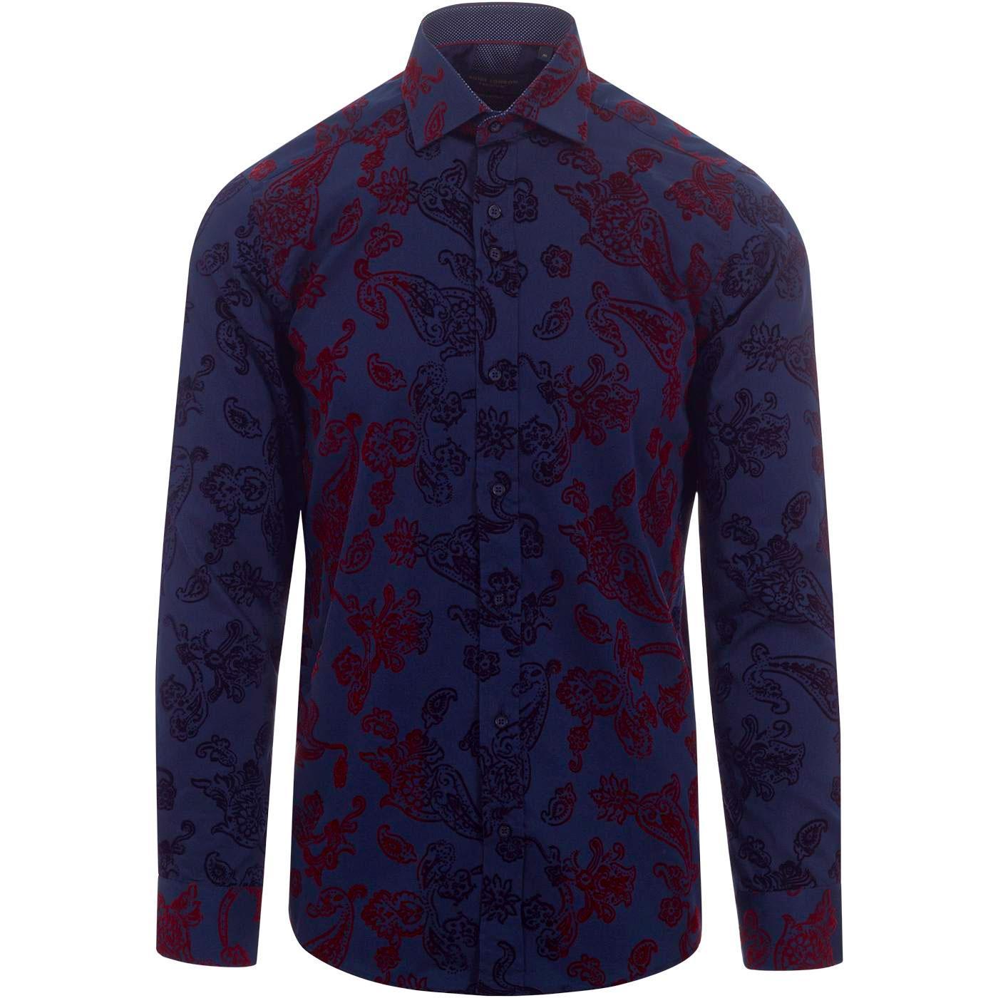 GUIDE LONDON 60s Mod Gradient Flock Floral Shirt N