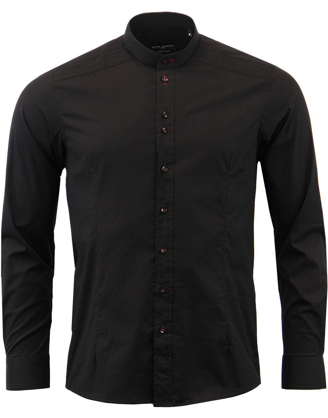 GUIDE LONDON 60s Mod Smart Grandad Shirt BLACK