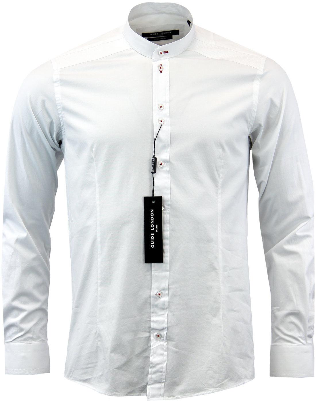 GUIDE LONDON 60s Mod Smart Grandad Shirt WHITE