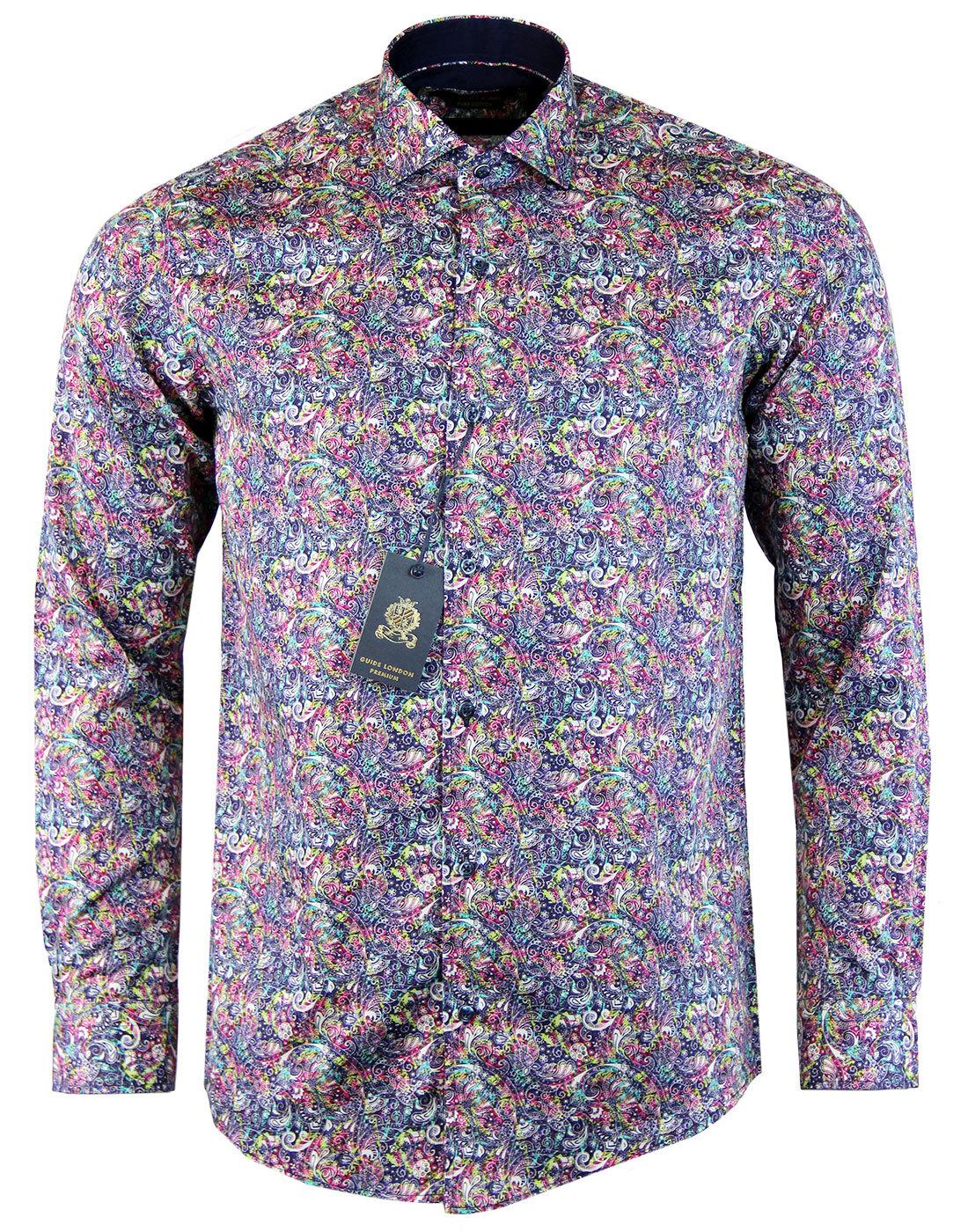 GUIDE LONDON Neon Paisley Retro 60s Mod Shirt