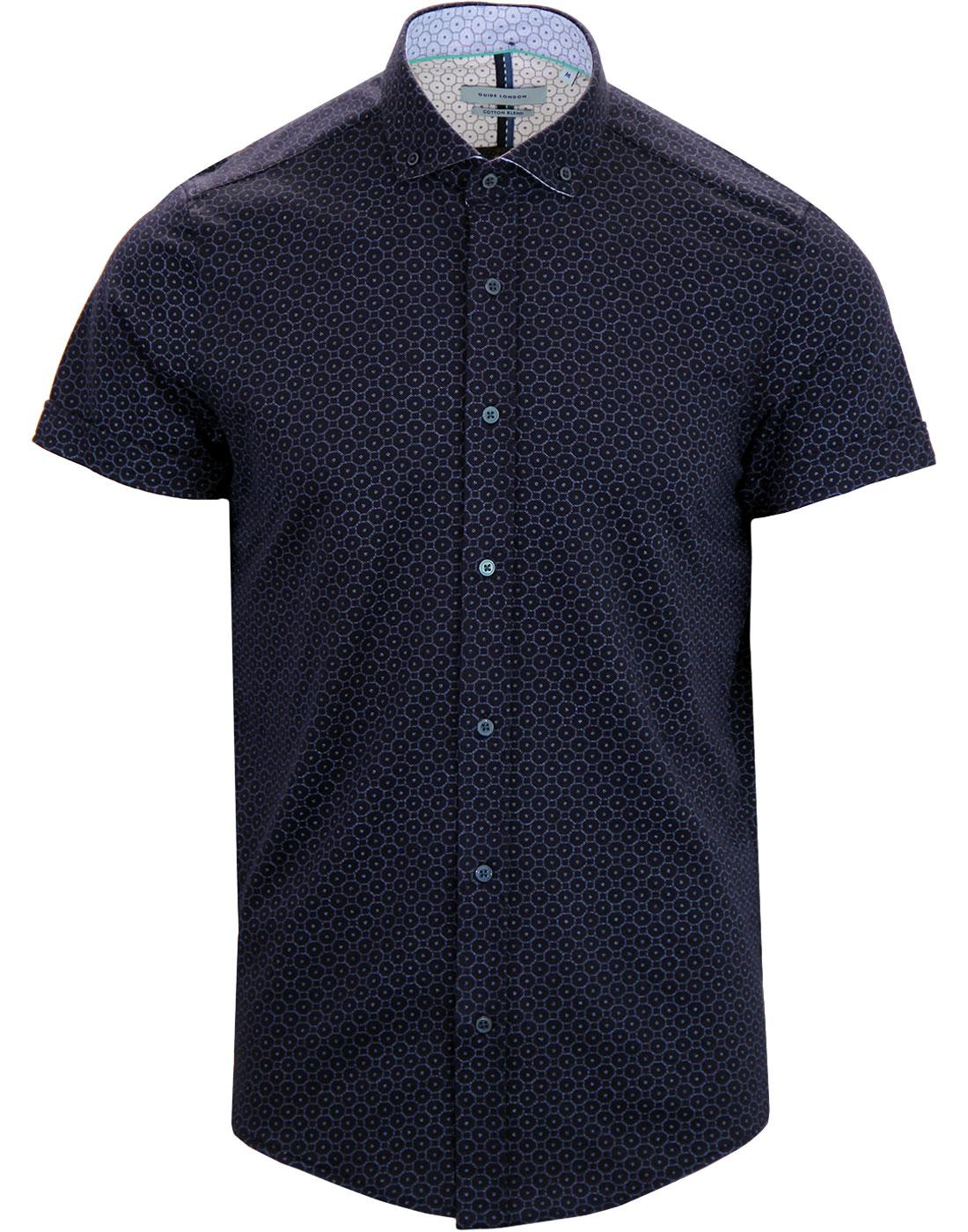 GUIDE LONDON Retro 60's Op Art Pique Shirt NAVY