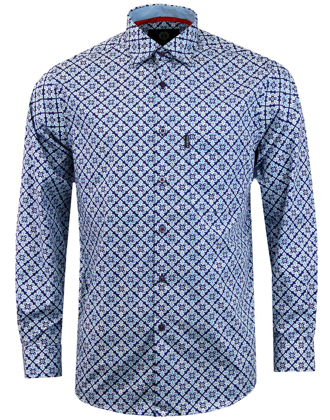 VIYELLA Men's 1960s Mod Diamond Paisley Tile Shirt