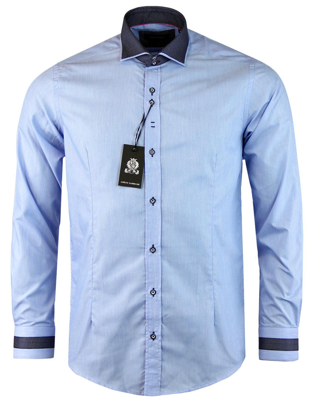 GUIDE LONDON Pindot Collar Retro Mod Smart Shirt