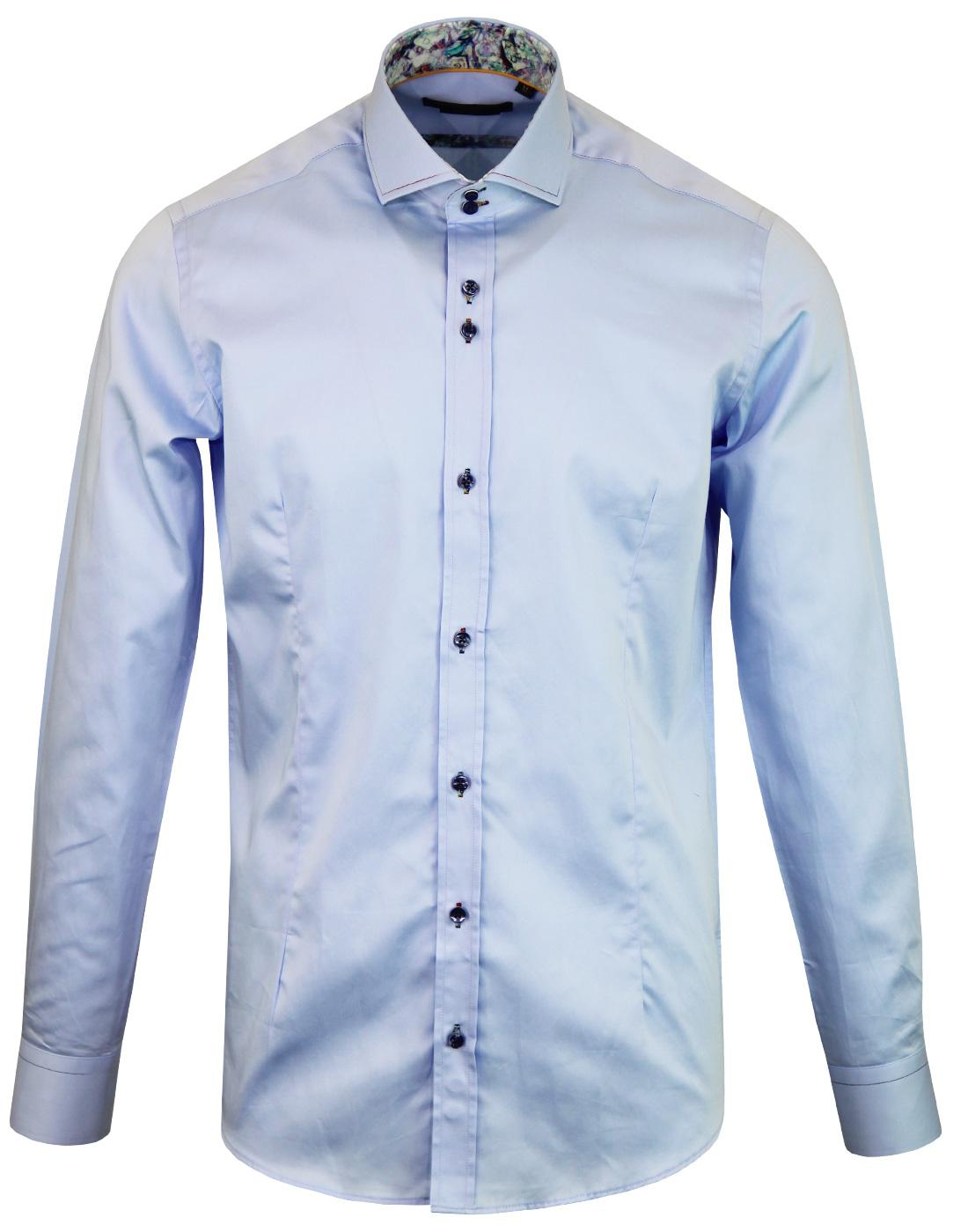 GUIDE LONDON Rainbow Stitch Smart Mod Shirt SKY