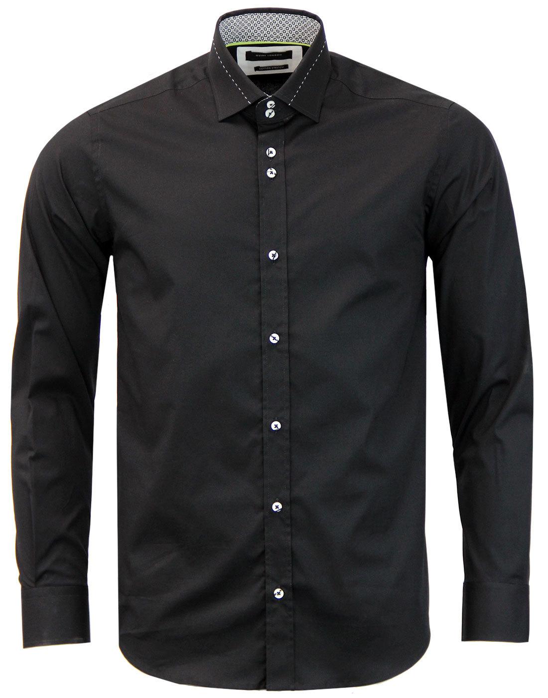 GUIDE LONDON 1960s Mod Stitch Collar Smart Shirt B