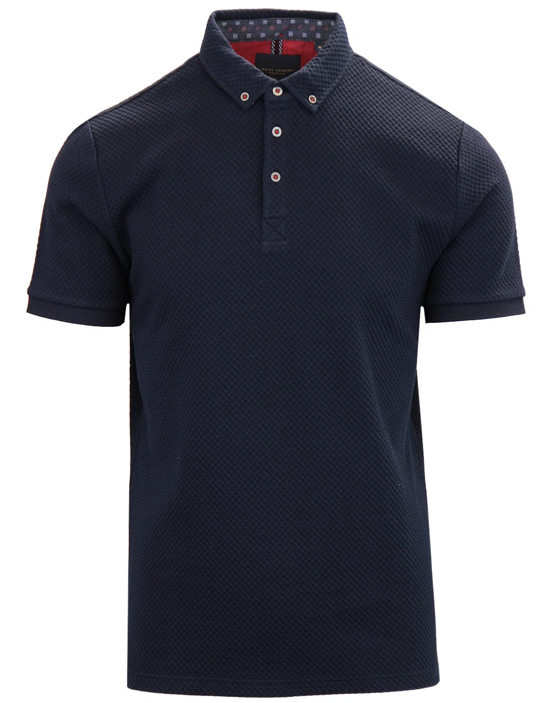GUIDE LONDON Mod Honeycomb Waffle Polo Shirt NAVY
