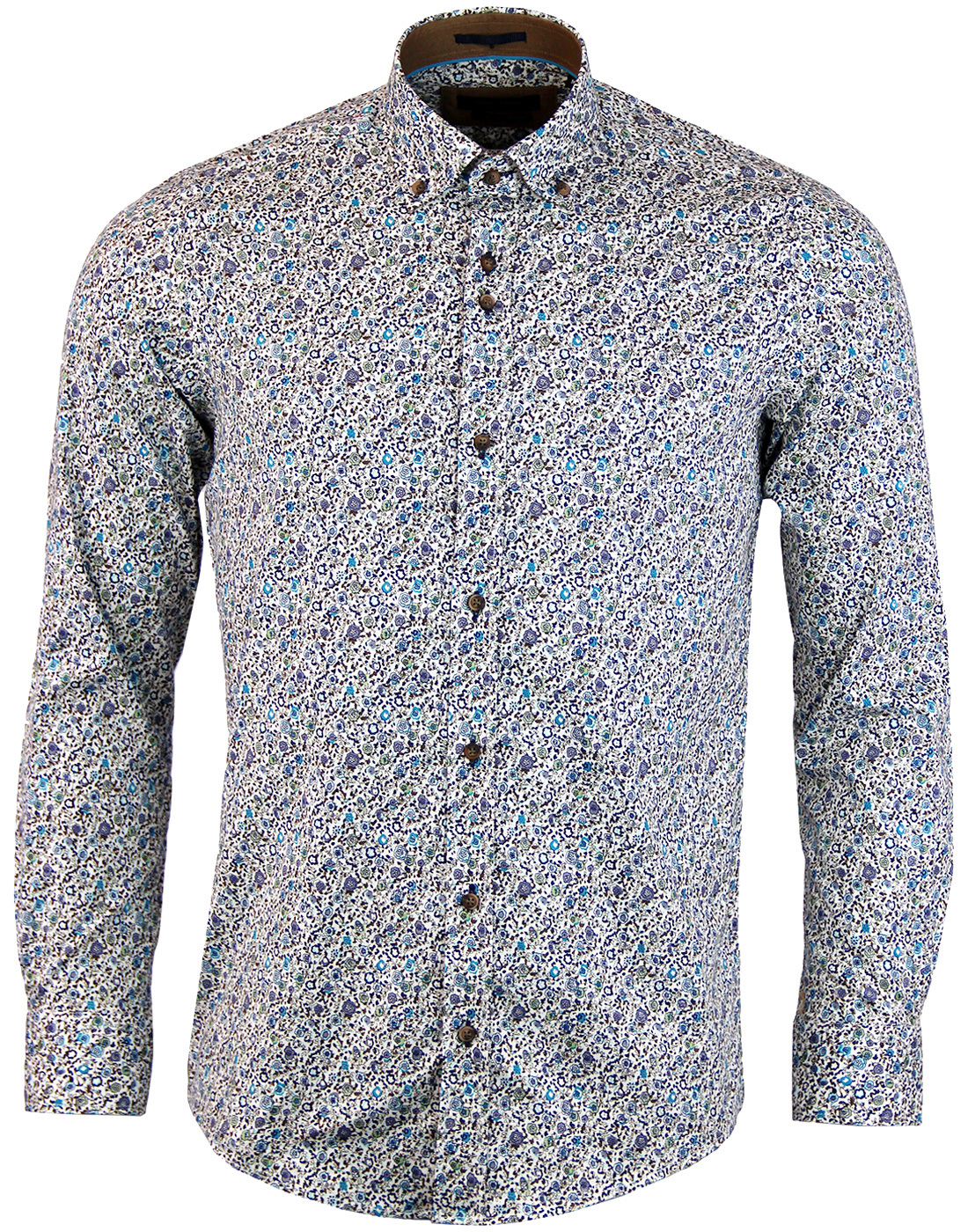 GUIDE LONDON Retro Sixties Floral Print Shirt