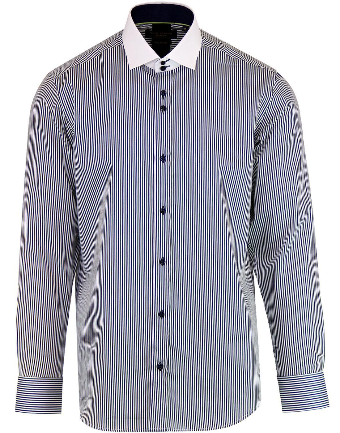 GUIDE LONDON Retro Contrast Collar Stripe Shirt G