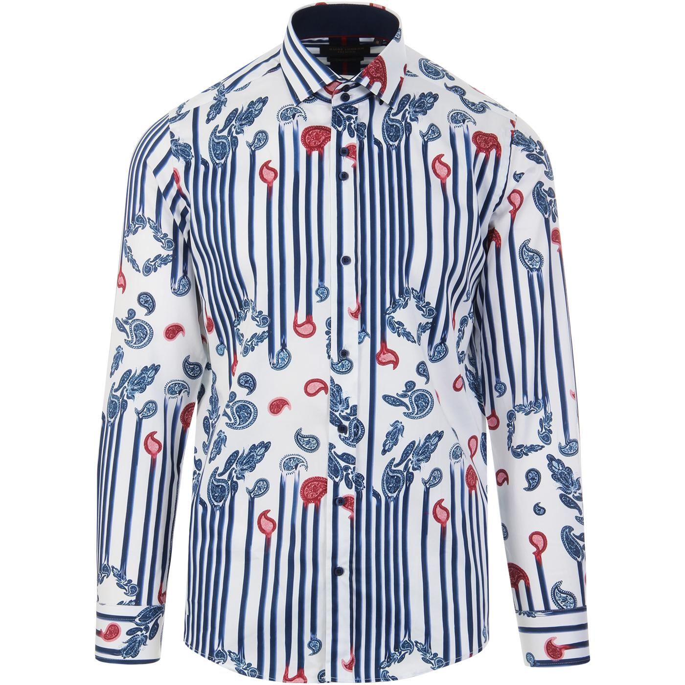 GUIDE LONDON Retro Mod Paisley Stripe Shirt