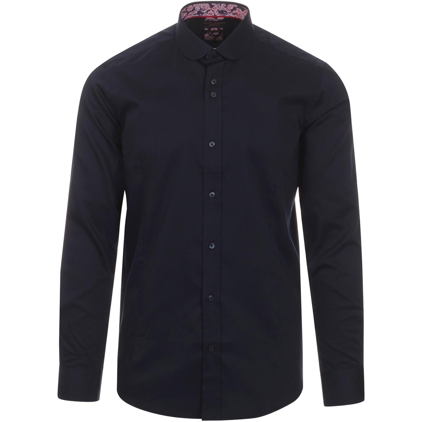 GUIDE LONDON 1960s Mod Round Collar Shirt (Navy)