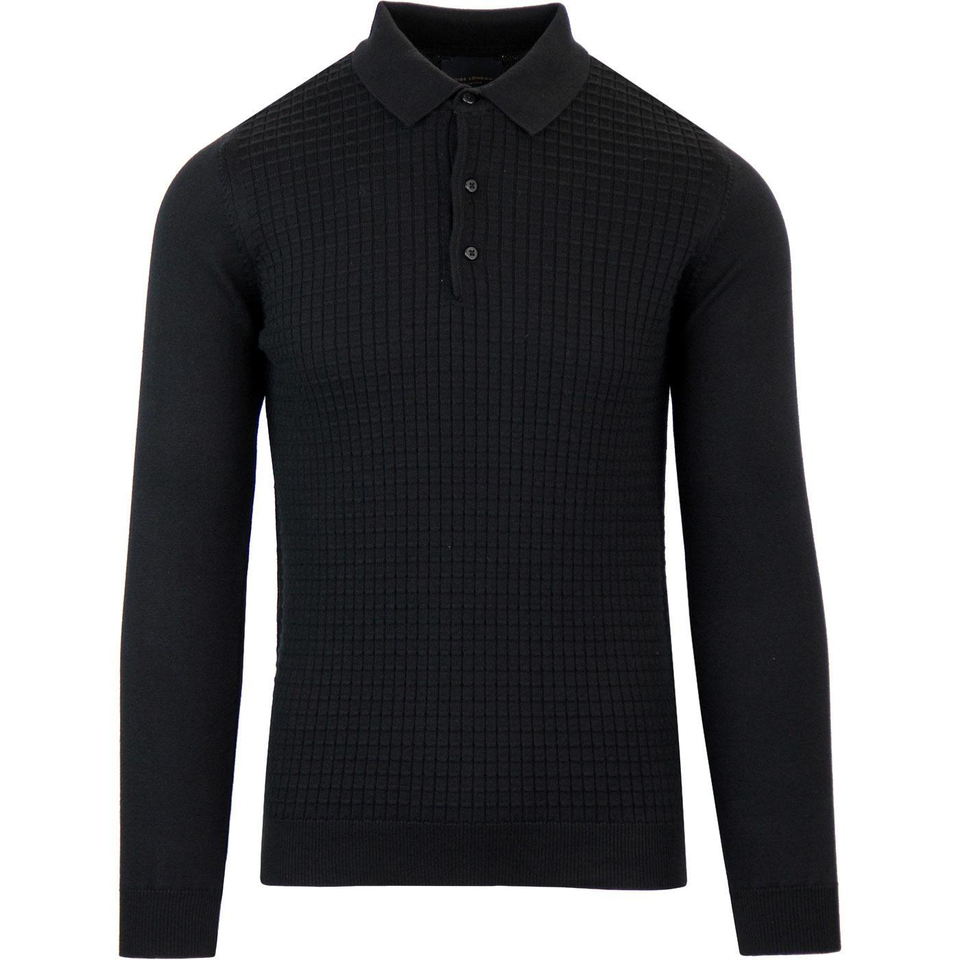 GUIDE LONDON 60s Mod Waffle Knit Polo Shirt BLACK