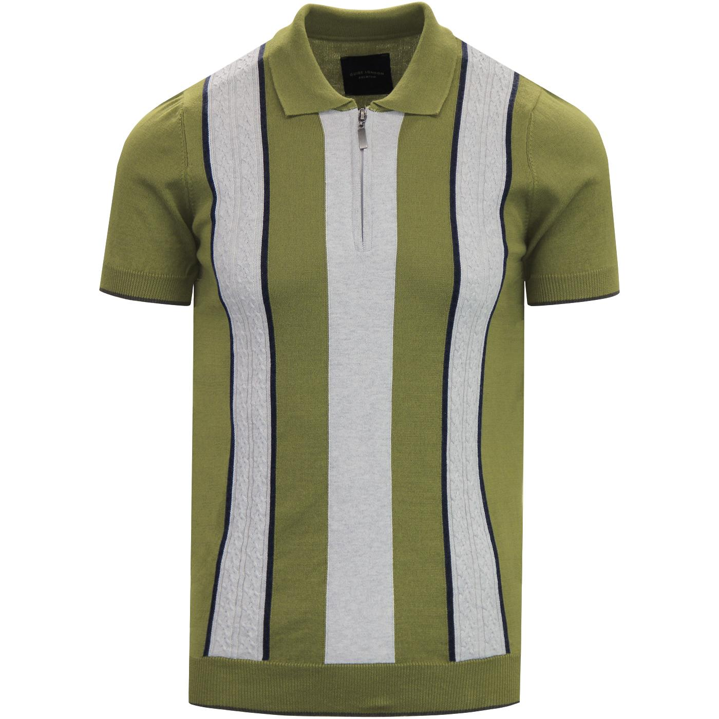GUIDE LONDON Cable Knit Panel Mod Polo Shirt GREEN