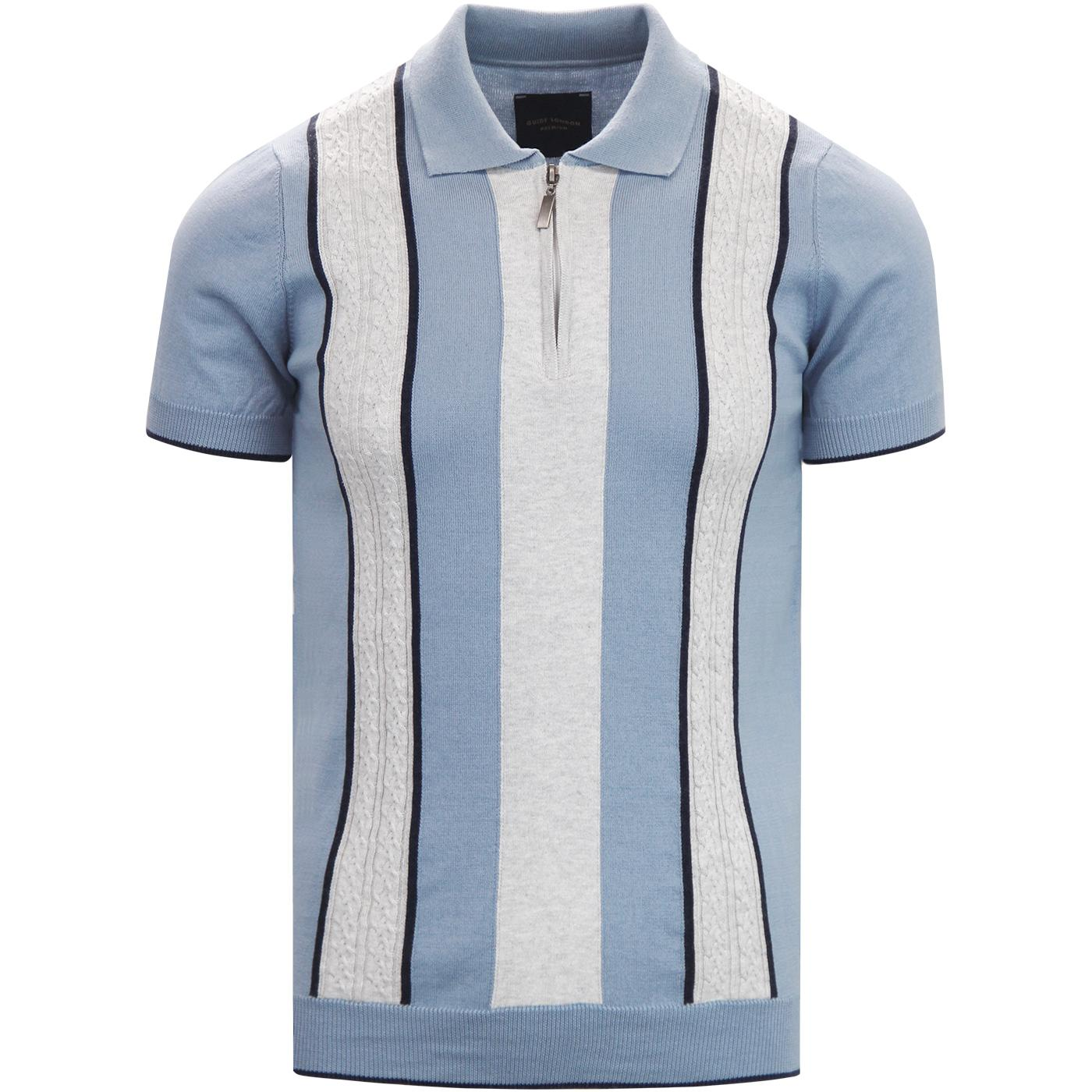 GUIDE LONDON Cable Knit Panel Mod Polo Shirt SKY