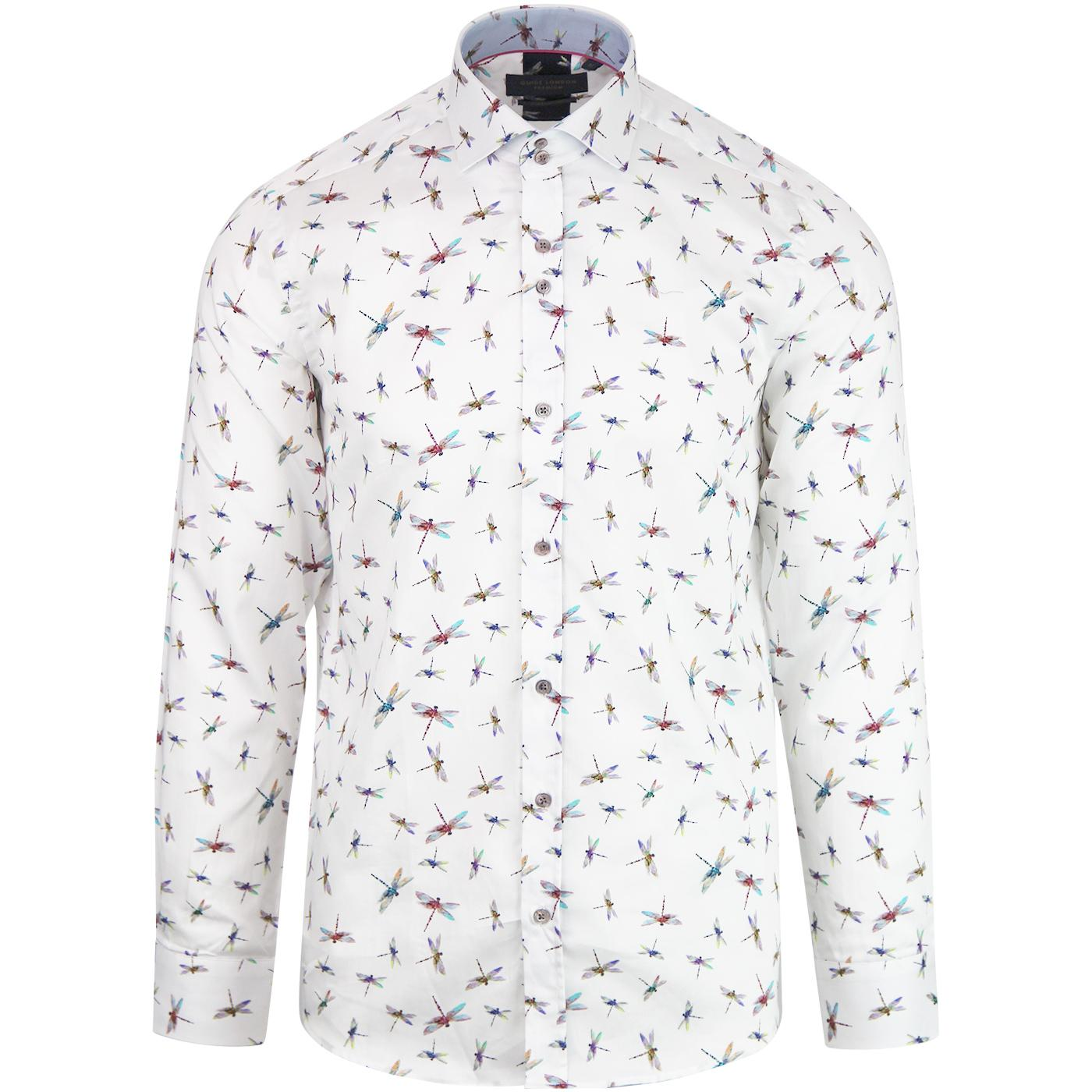GUIDE LONDON Men's Retro Mod Dragonfly Print Shirt