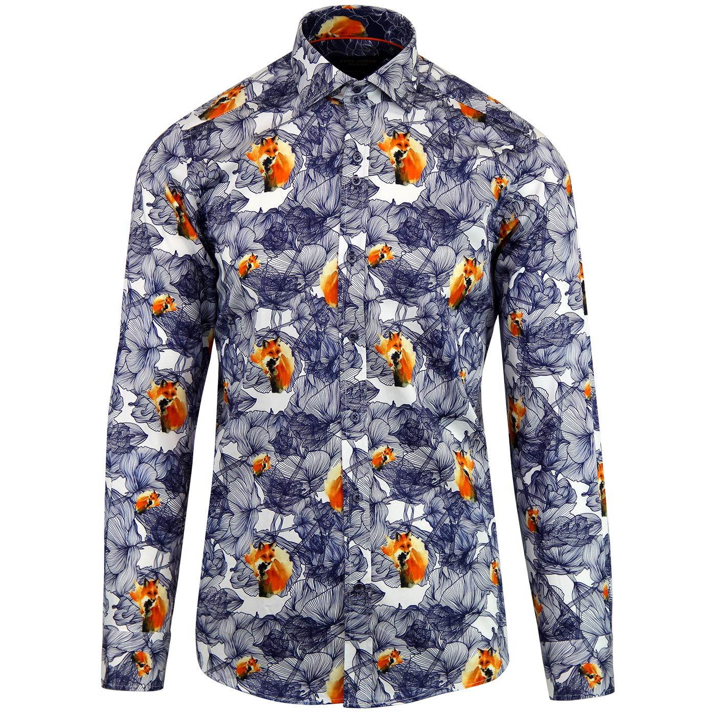 GUIDE LONDON Retro Floral Fox Sateen Shirt - White