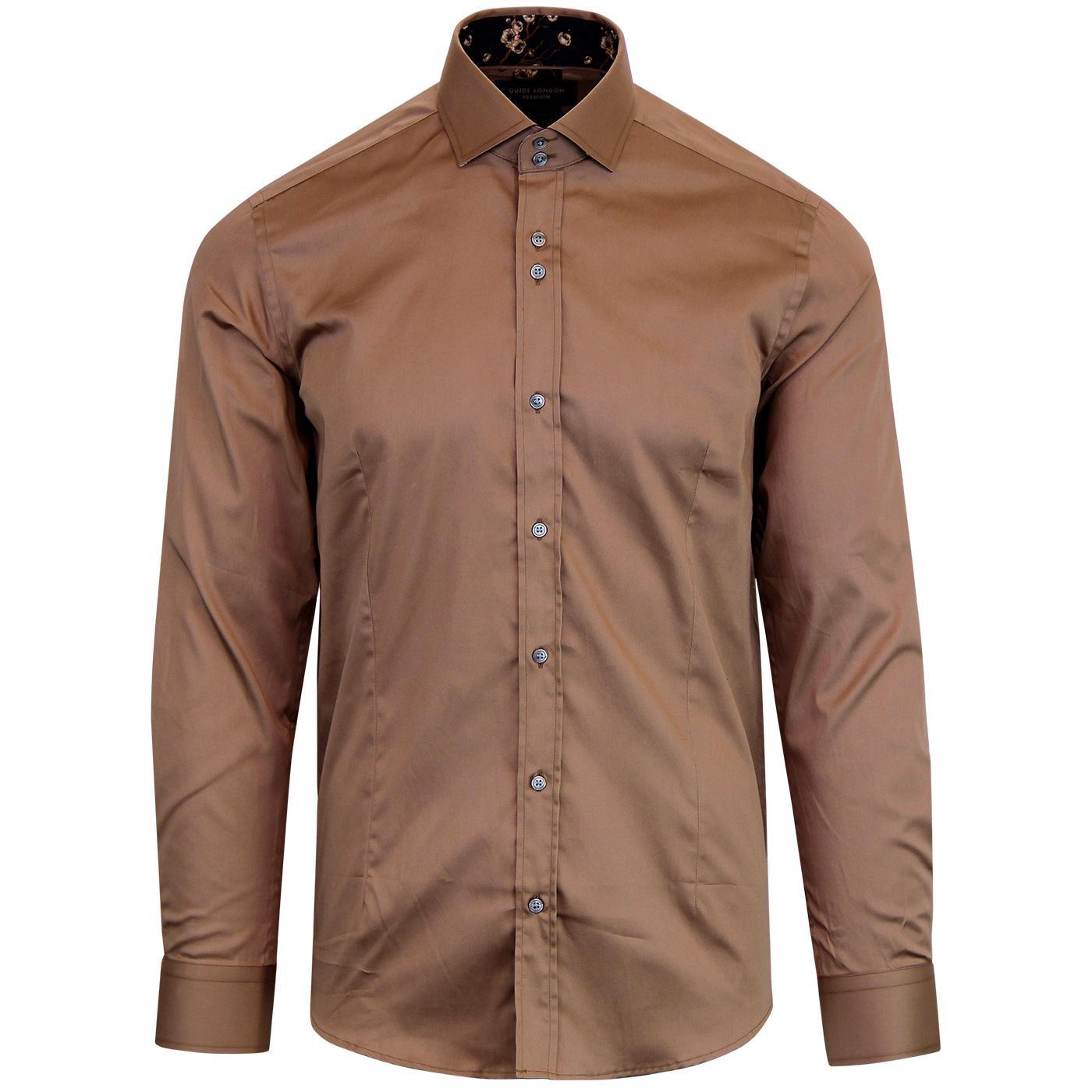 GUIDE LONDON Men's 60s Mod Smart Dress Shirt TAN