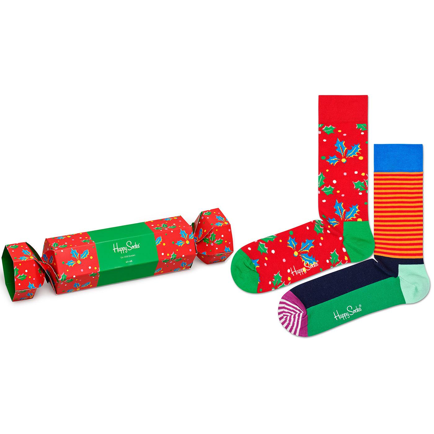 + HAPPY SOCKS Christmas Cracker Holly Gift Set