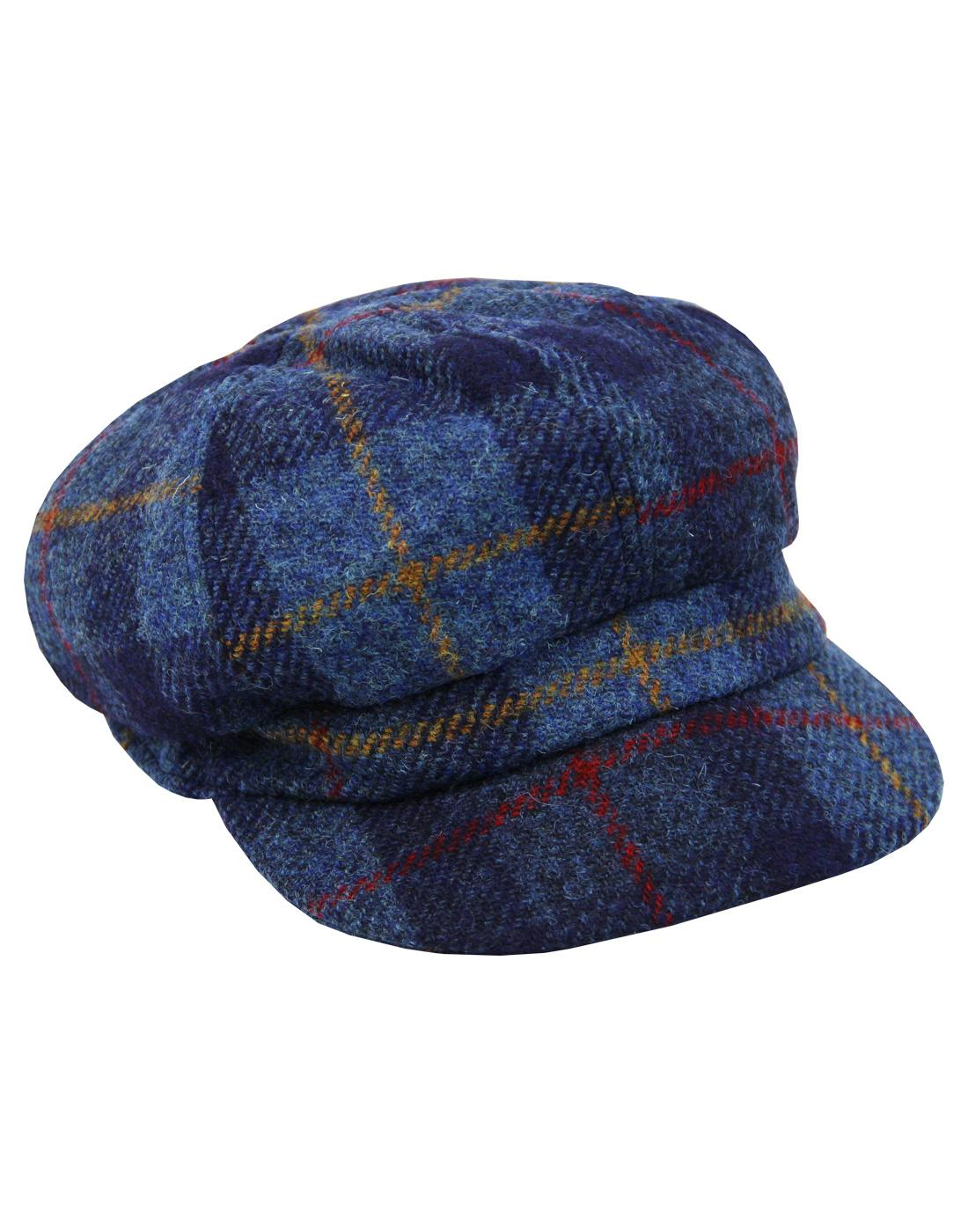 FAILSWORTH Harris Tweed Womens Gatsby Cap BLUE