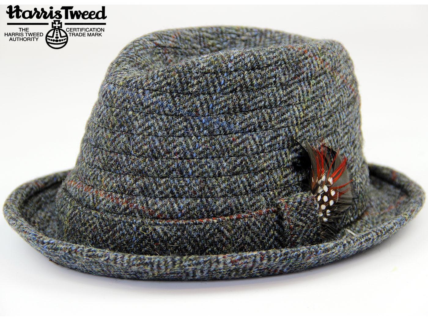 Orkney Harris Tweed Retro 60s Mod Trilby Hat in Grey d1776fbf6f0