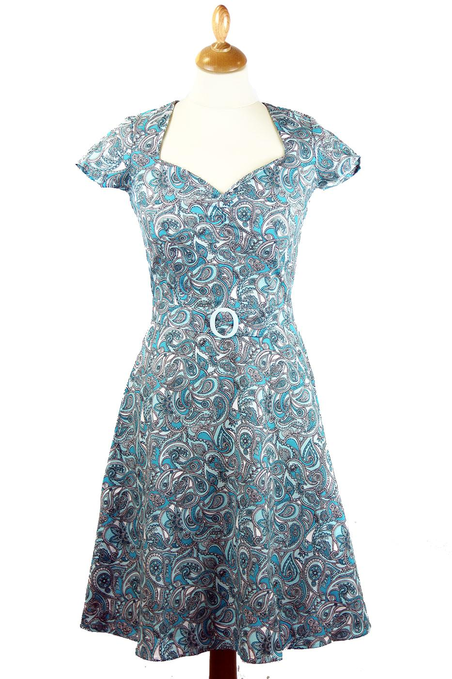 Aimee HEARTBREAKER Retro 60s Paisley Mod Dress