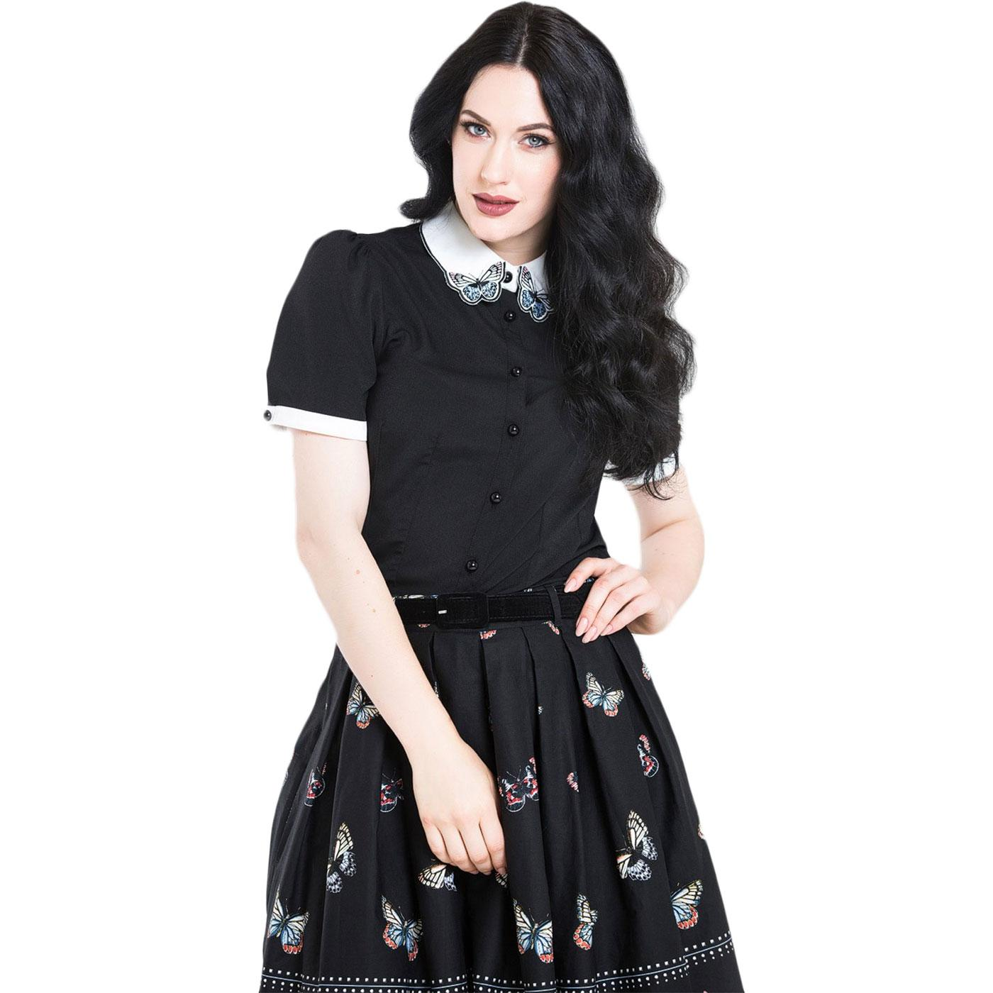 Laeticia HELL BUNNY Retro Butterfly Collar Blouse