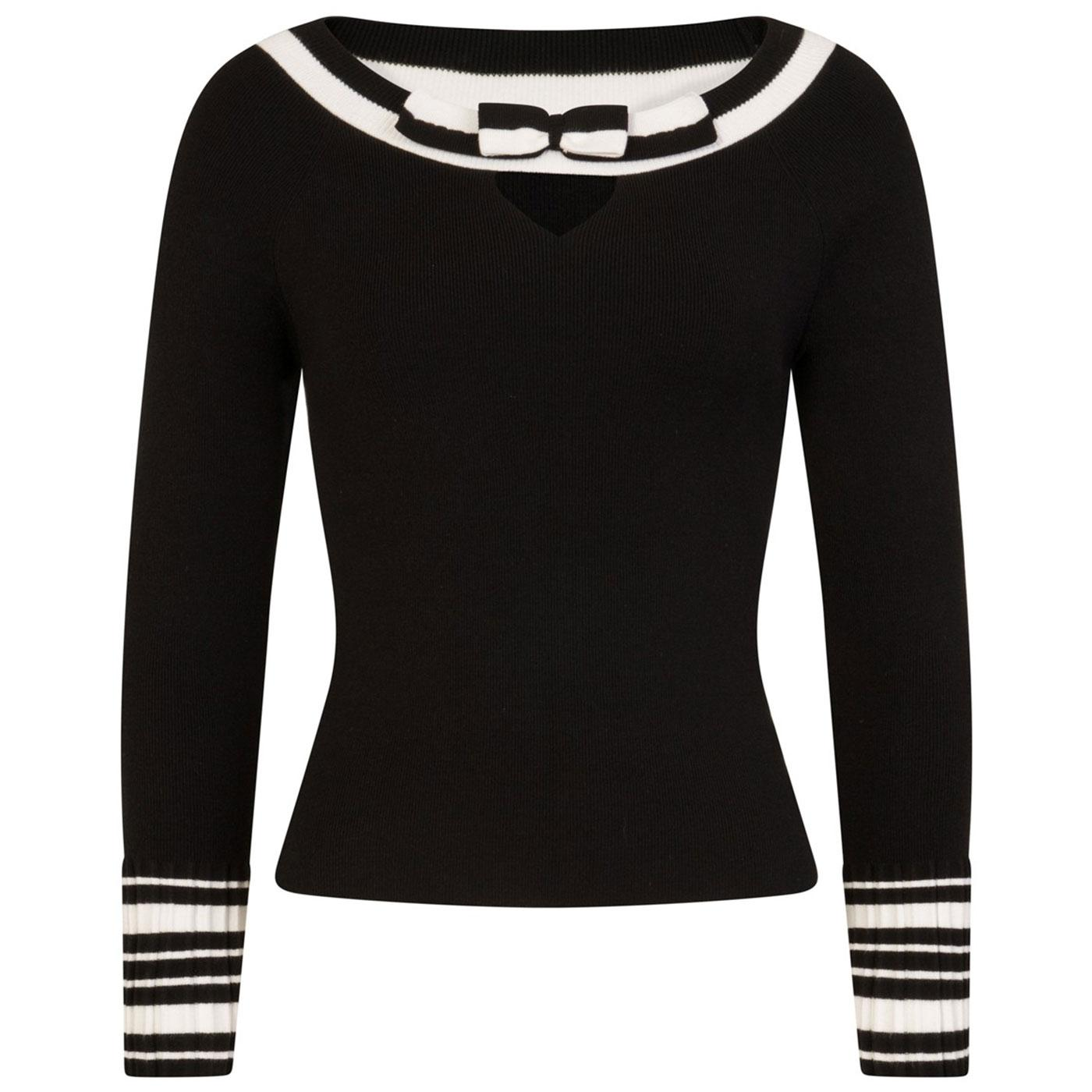 Elodie HELL BUNNY Stripe Contrast 50s Jumper Black