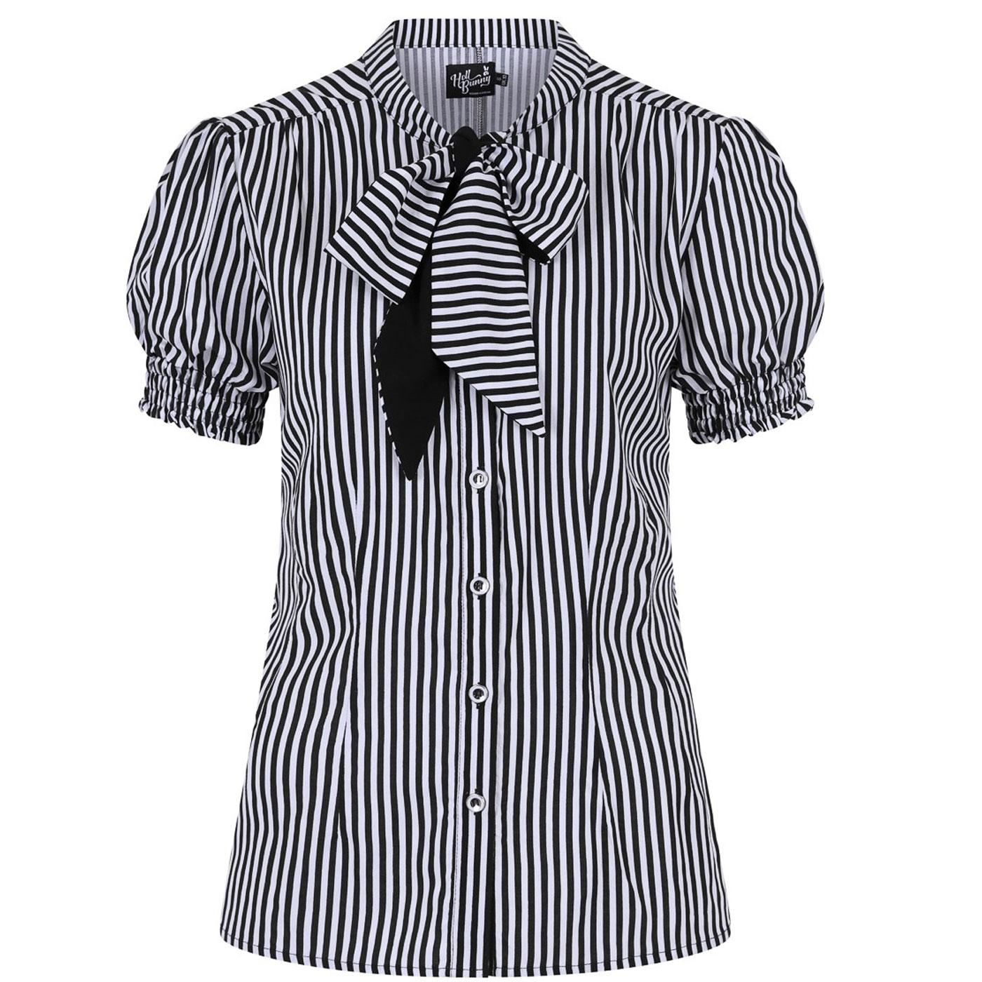 Humbug HELL BUNNY Vintage Striped B/W Blouse