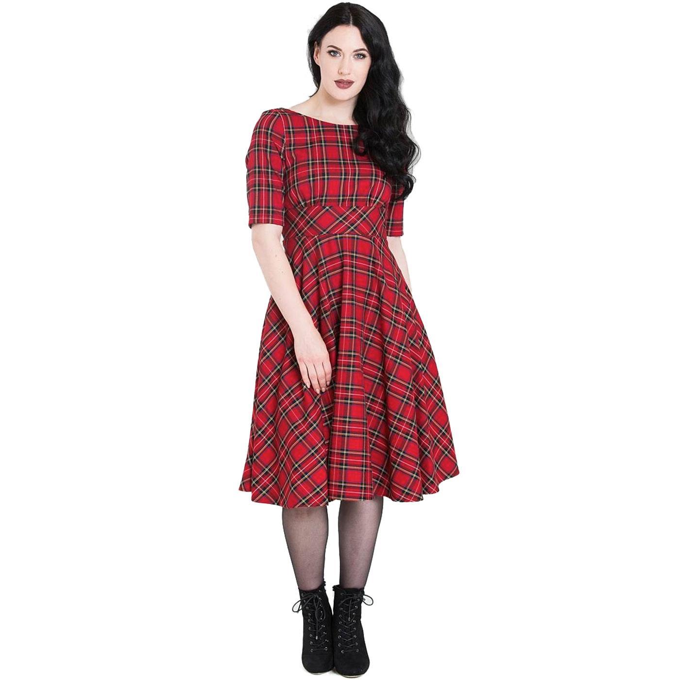 Irvine HELL BUNNY 1950's Tartan Swing Dress Red
