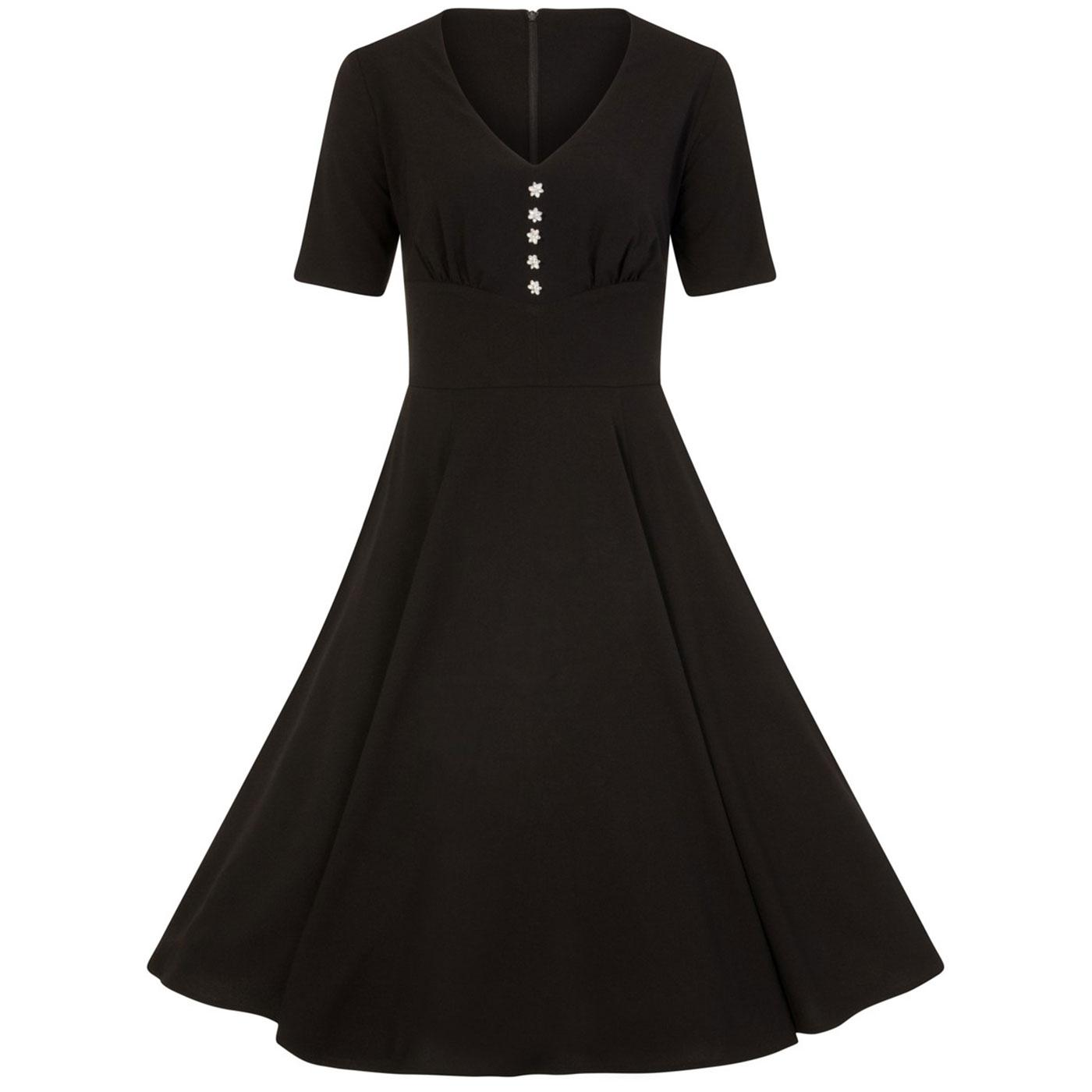 Mila HELL BUNNY 40s Vintage V-neck Dress in Black