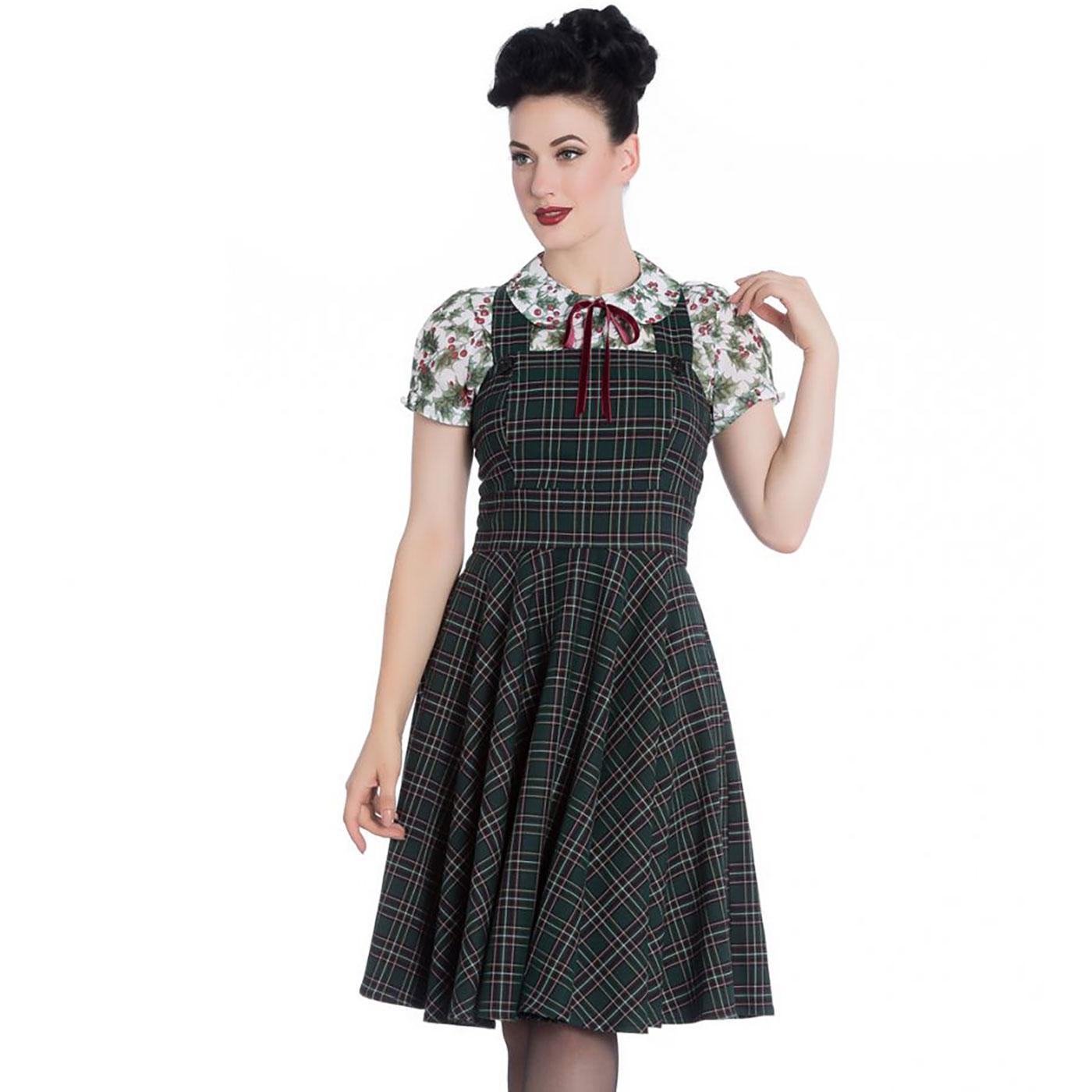 Peebles HELL BUNNY Tartan Pinafore Dress GREEN