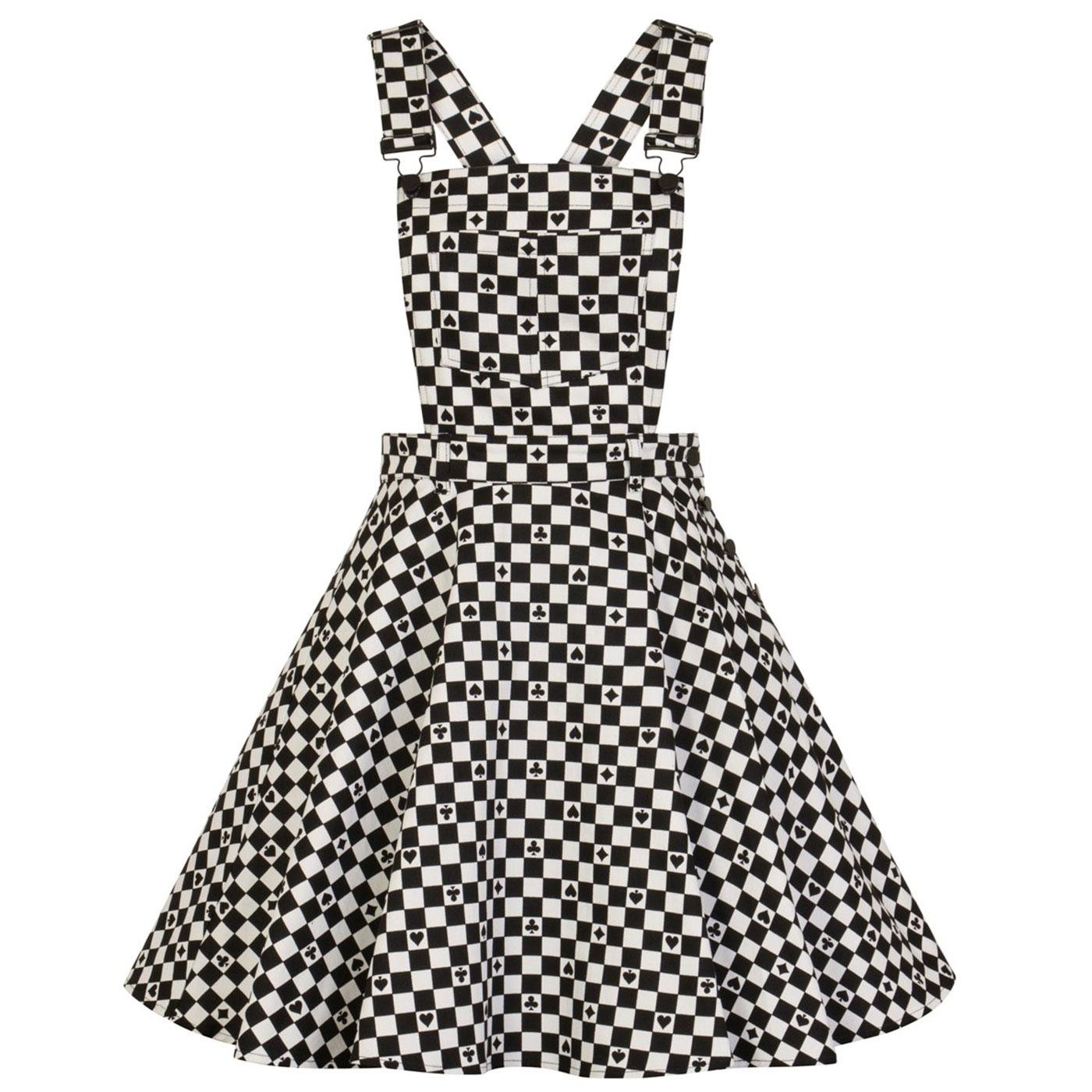 HELL BUNNY Pokerface Retro 60s Mod Pinafore Dress