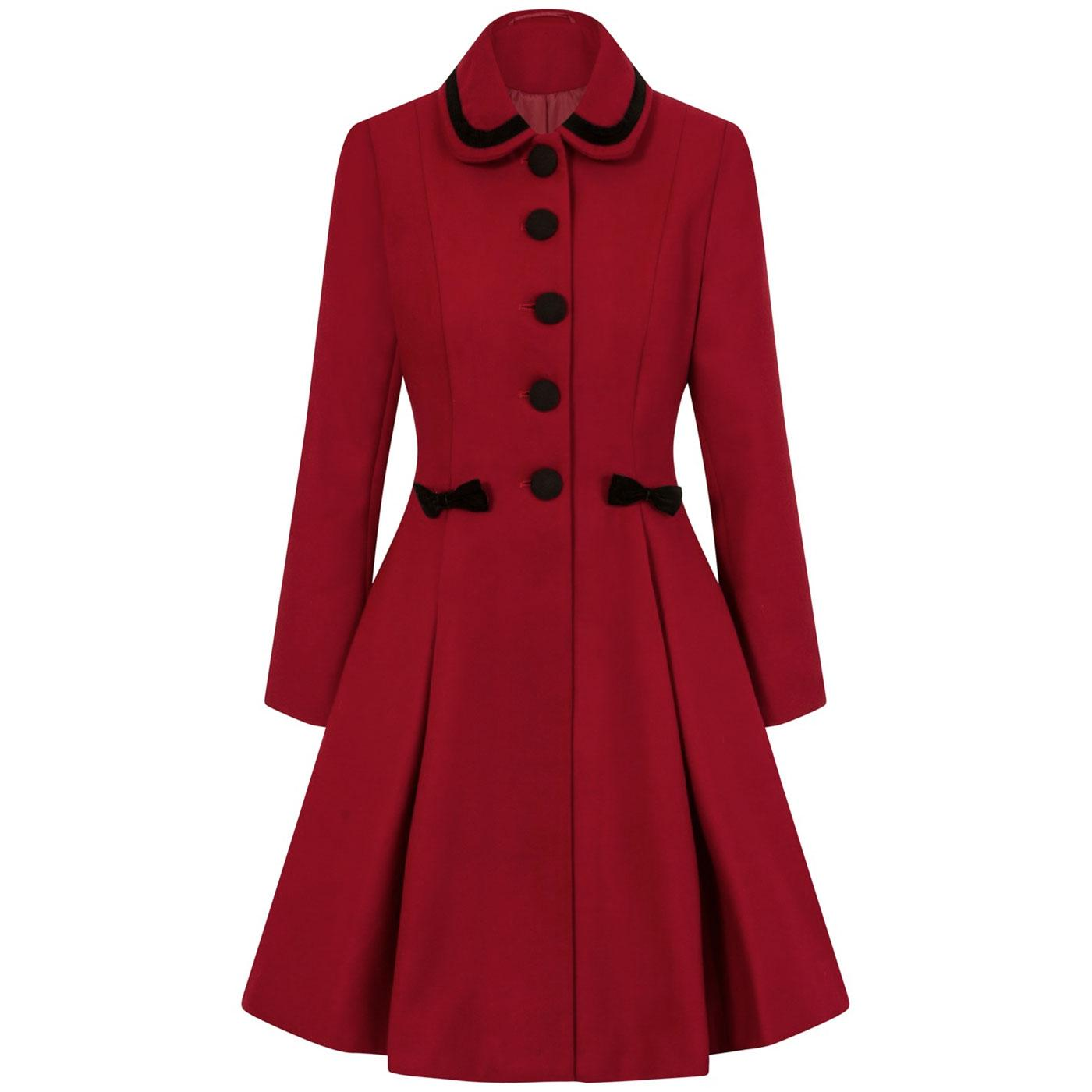 Olivia HELL BUNNY Vintage 1950s Bow Coat Red