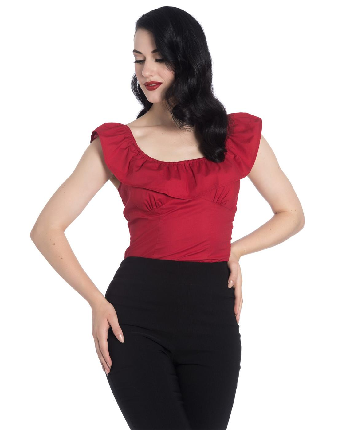 Rio HELL BUNNY Retro 50s Ruffle Collar Top in Red