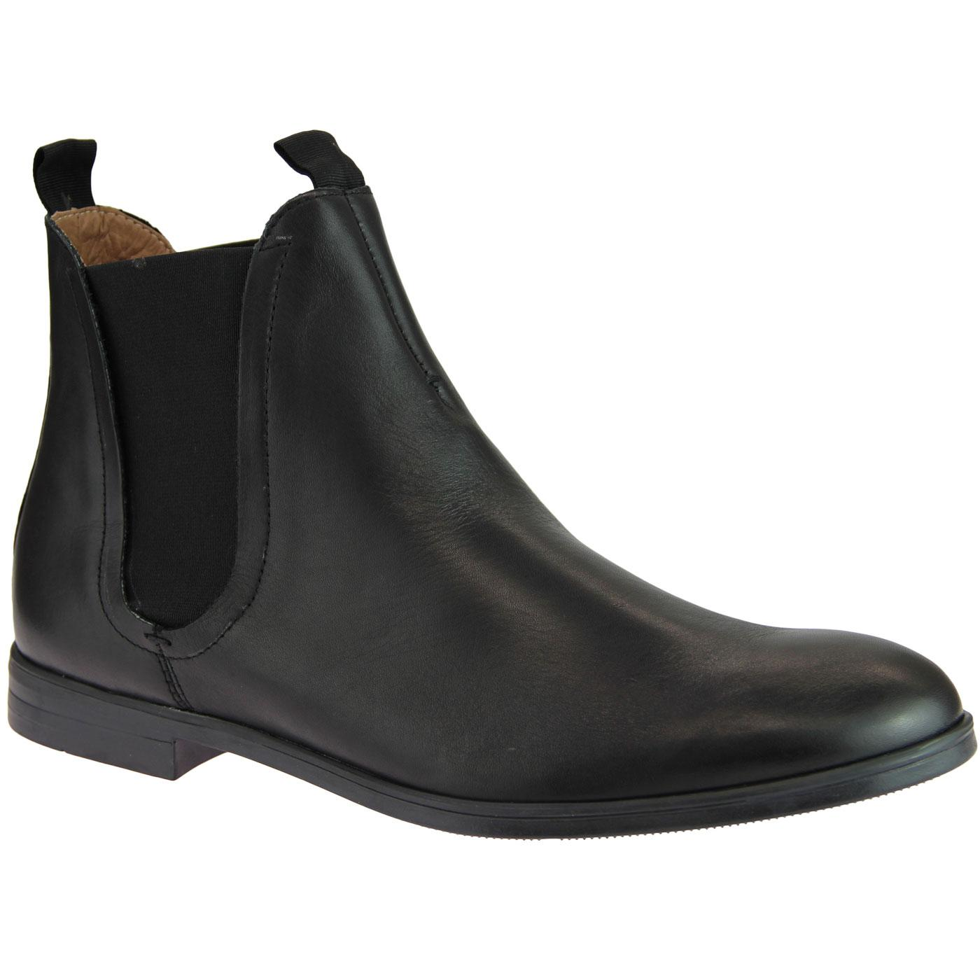 Atherstone HUDSON Mod Leather Chelsea Boots BLACK
