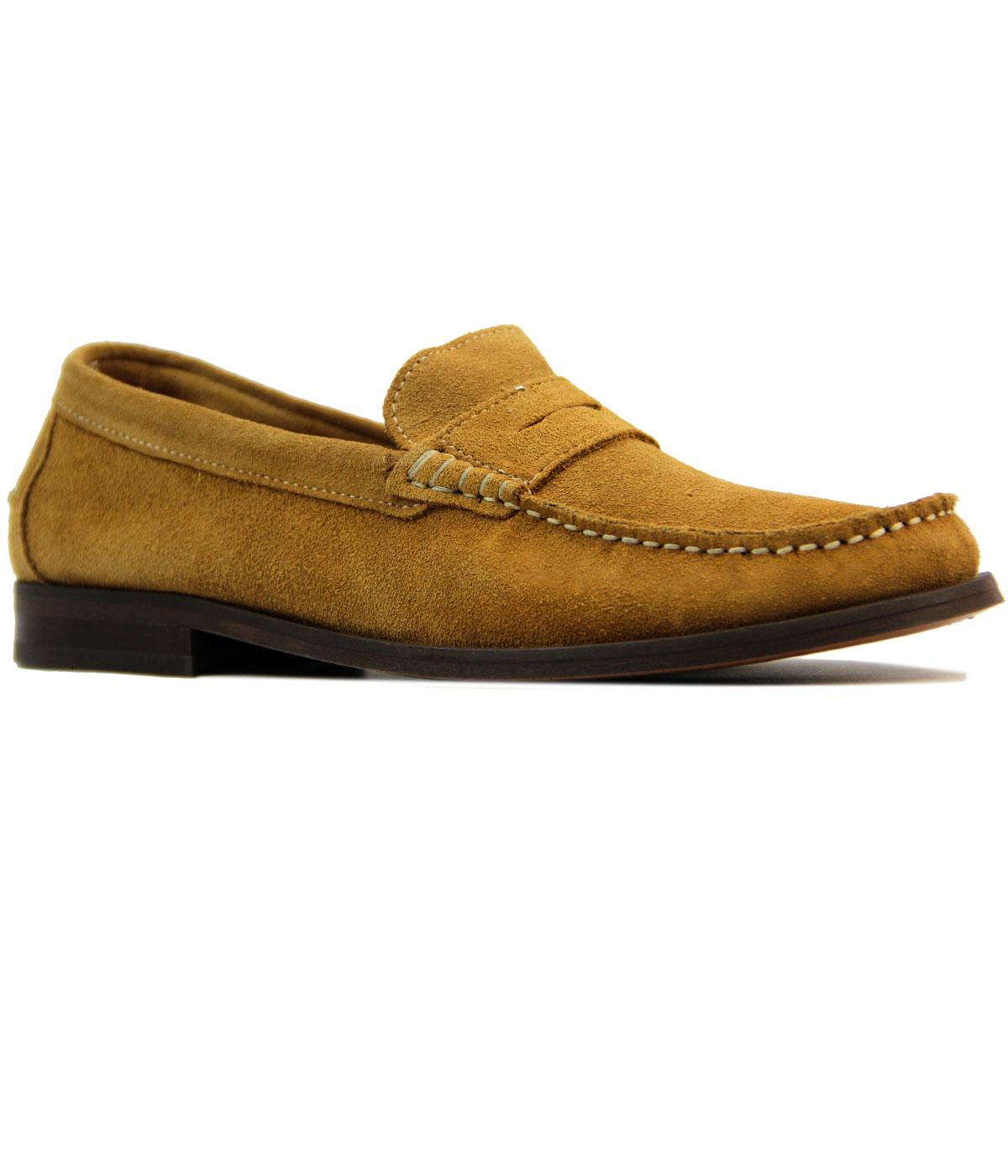 016bc9e0ee8 H by HUDSON Augusta Suede Retro 1960s Mod Penny Loafers in Camel